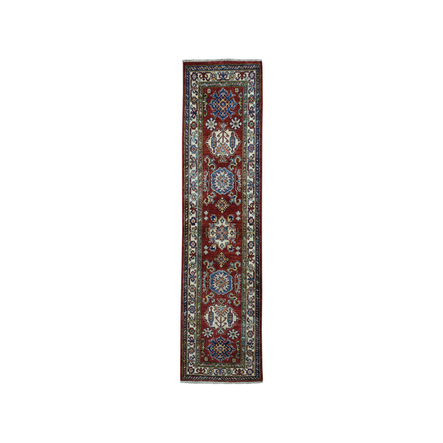 "1'10""X6' Red Super Kazak Pure Wool Geometric Design Hand-Knotted Runner Oriental Rug moaea06c"