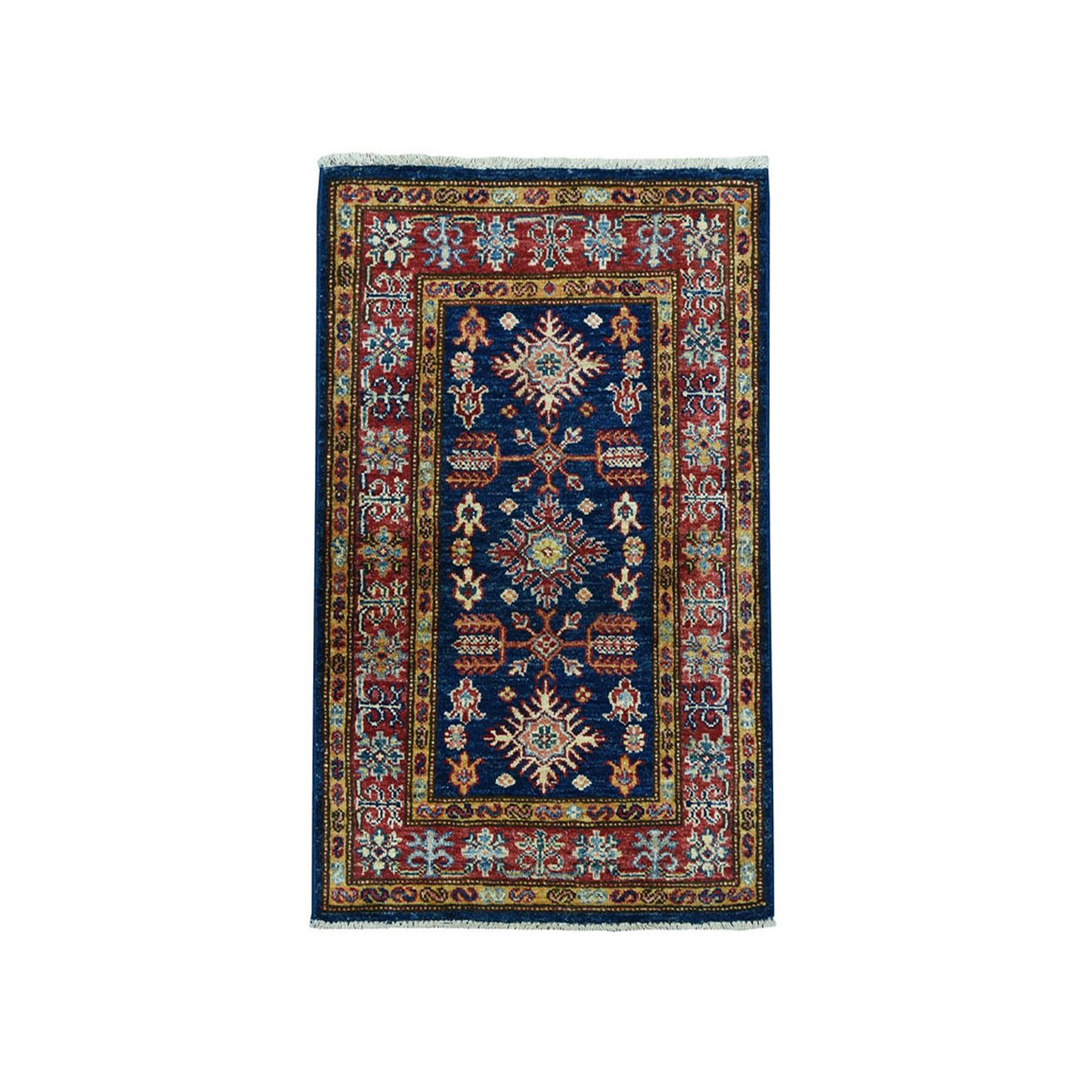 "2'X3'1"" Blue Super Kazak Geometric Design Pure Wool Hand-Knotted Oriental Rug moaea068"