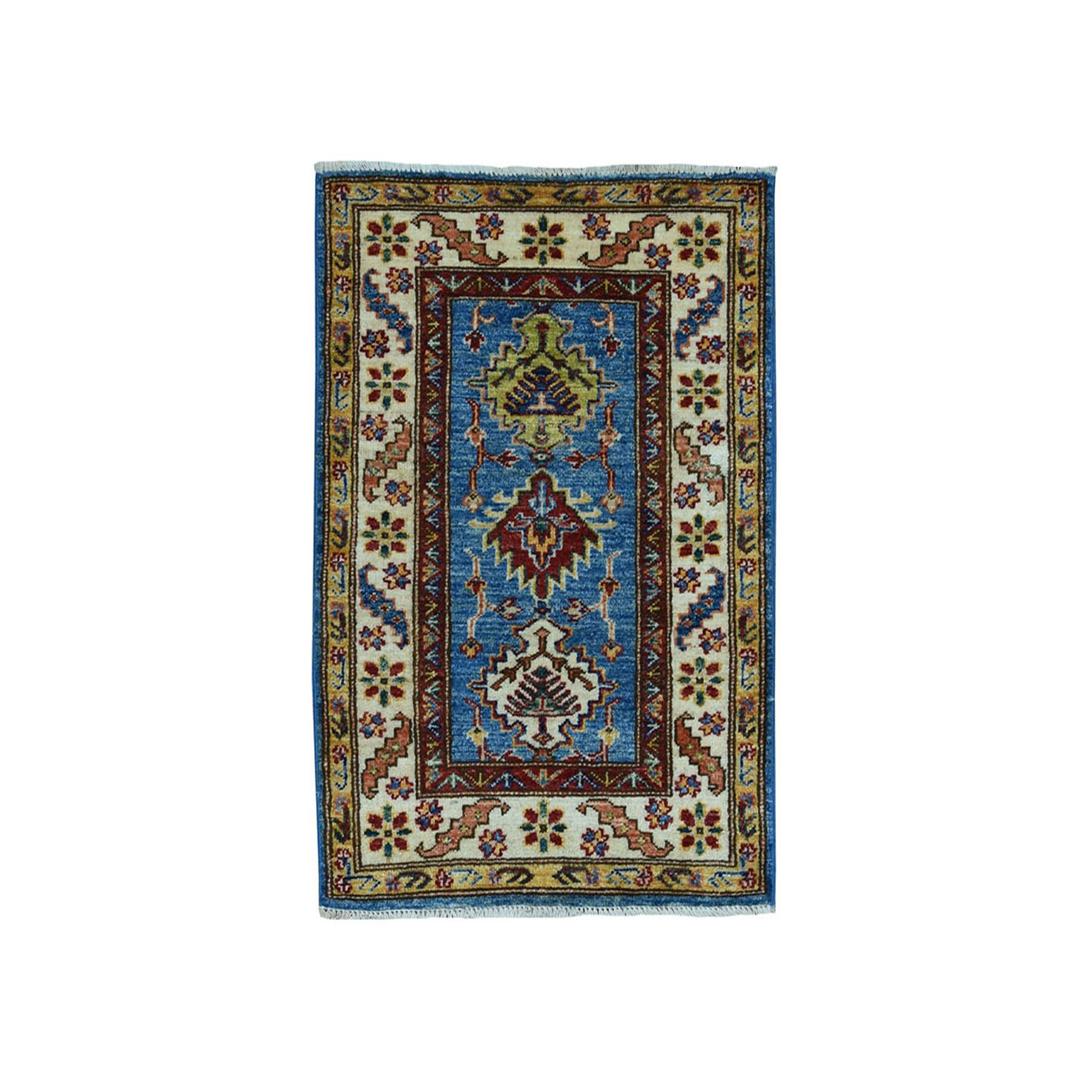 2'X3' Blue Super Kazak Geometric Design Pure Wool Hand-Knotted Oriental Rug moaea070