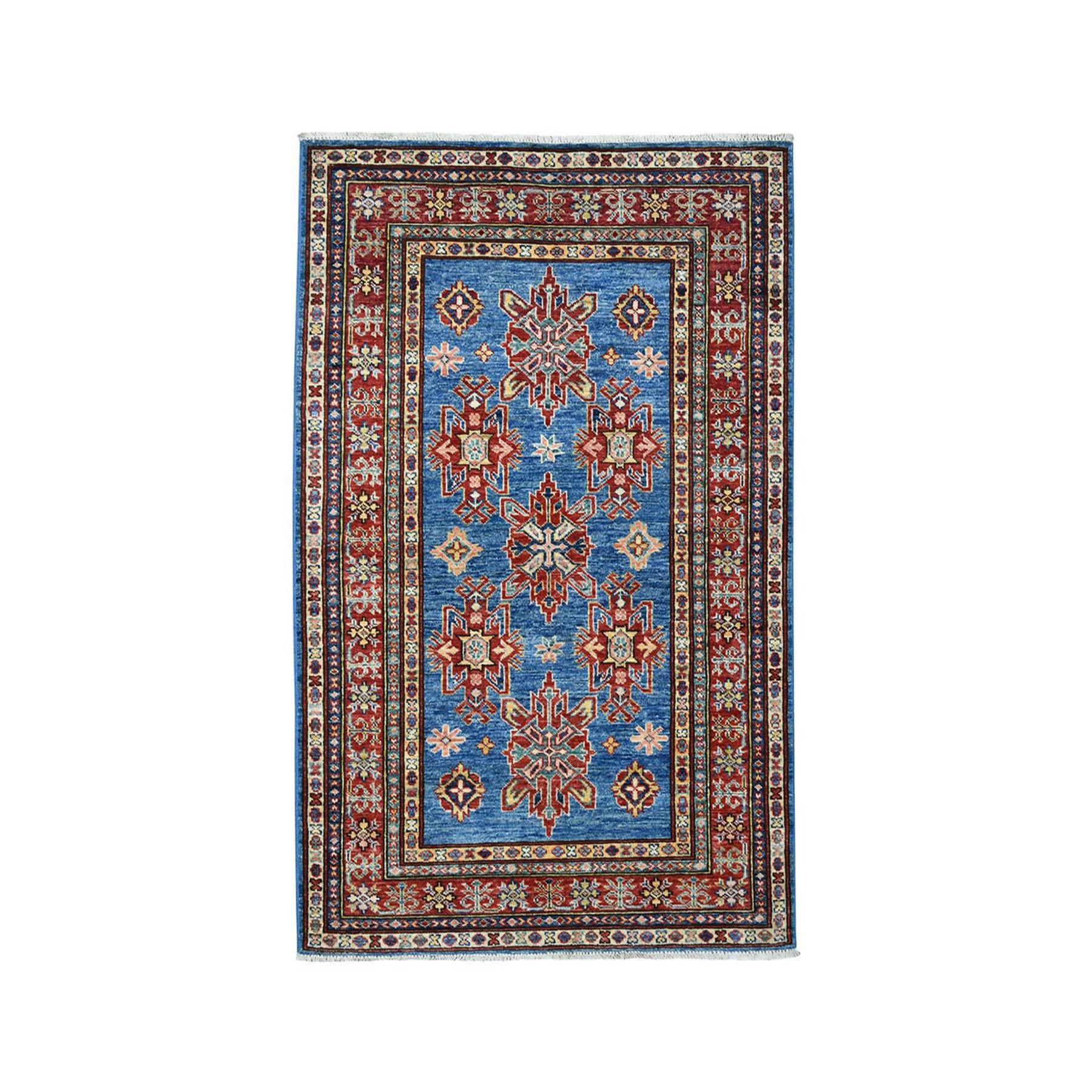 "3'4""X5'1"" Blue Super Kazak Geometric Design Pure Wool Hand-Knotted Oriental Rug moaea07b"