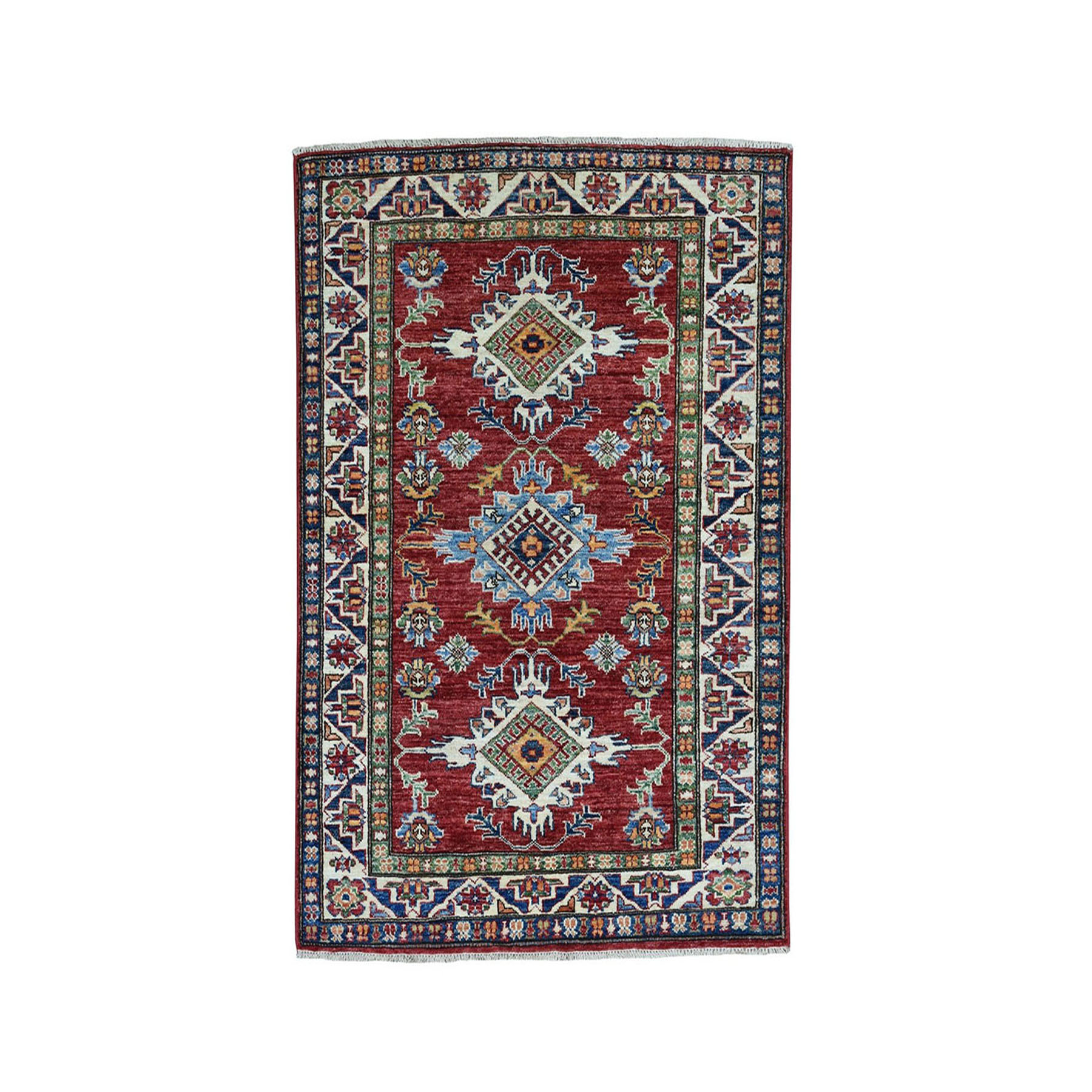 "3'5""X4'7"" Red Super Kazak Pure Wool Geometric Design Hand-Knotted Oriental Rug moaea07c"