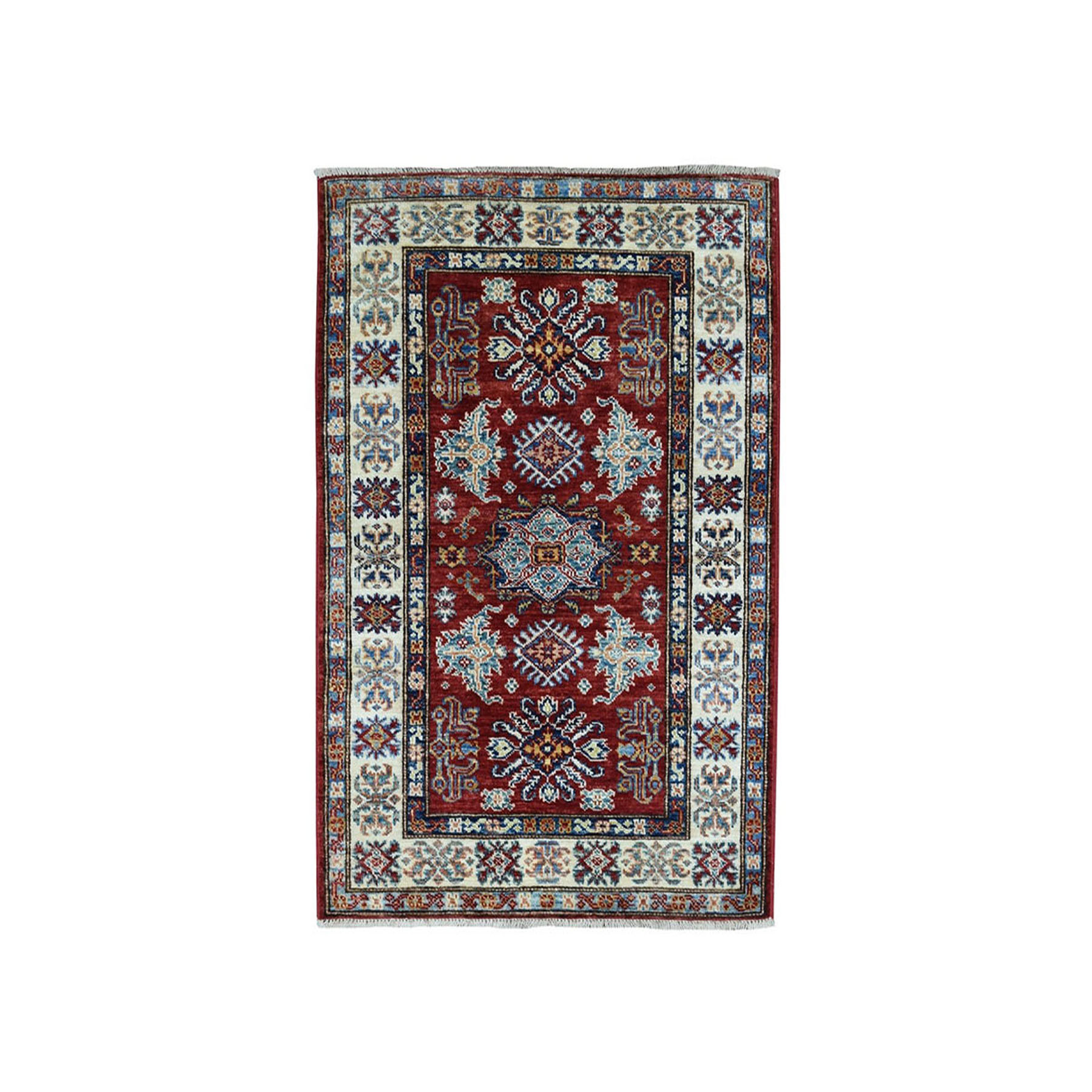 "2'7""X3'9"" Red Super Kazak Pure Wool Geometric Design Hand-Knotted Oriental Rug moaea07d"