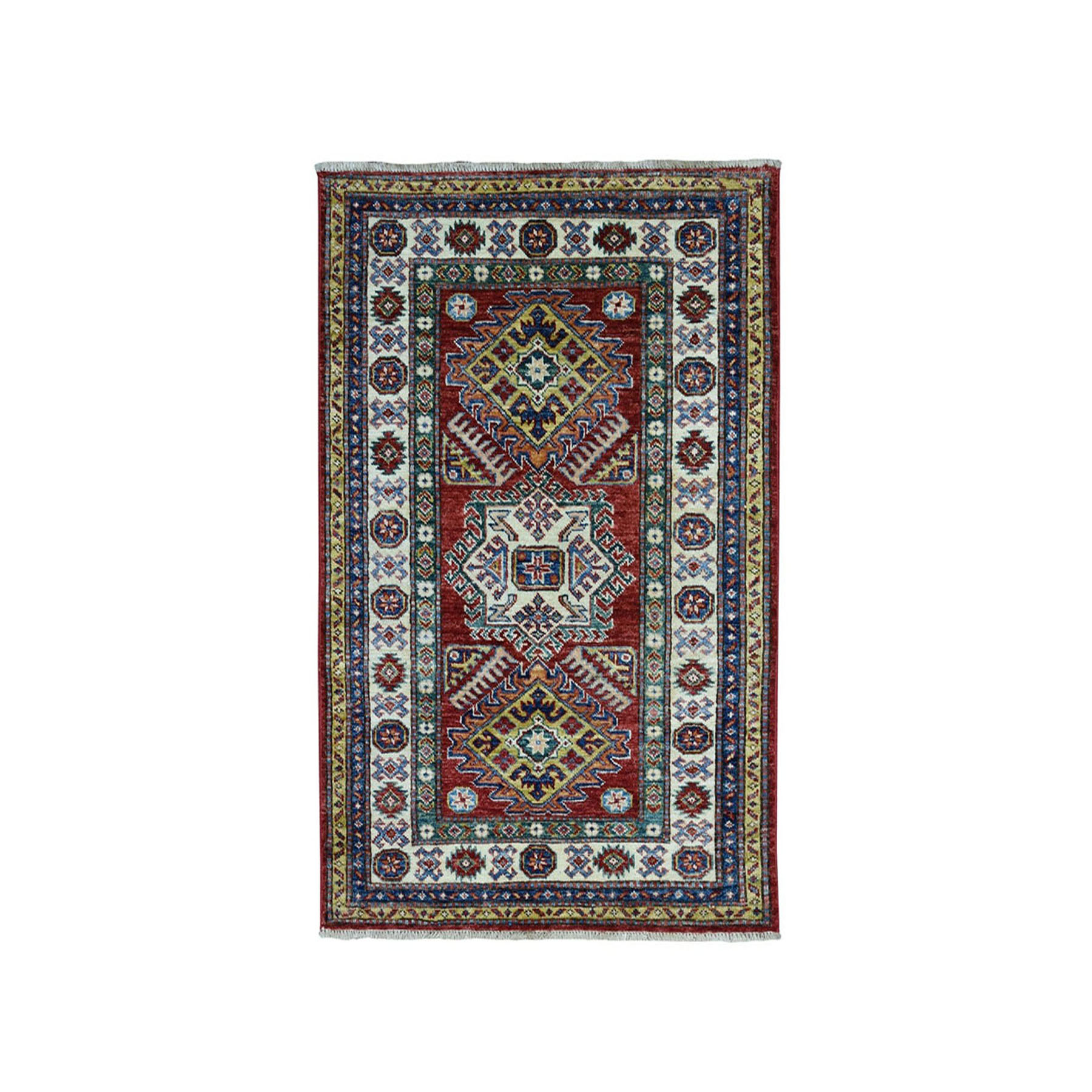 "2'10""X4' Red Super Kazak Pure Wool Geometric Design Hand-Knotted Oriental Rug moaea07e"