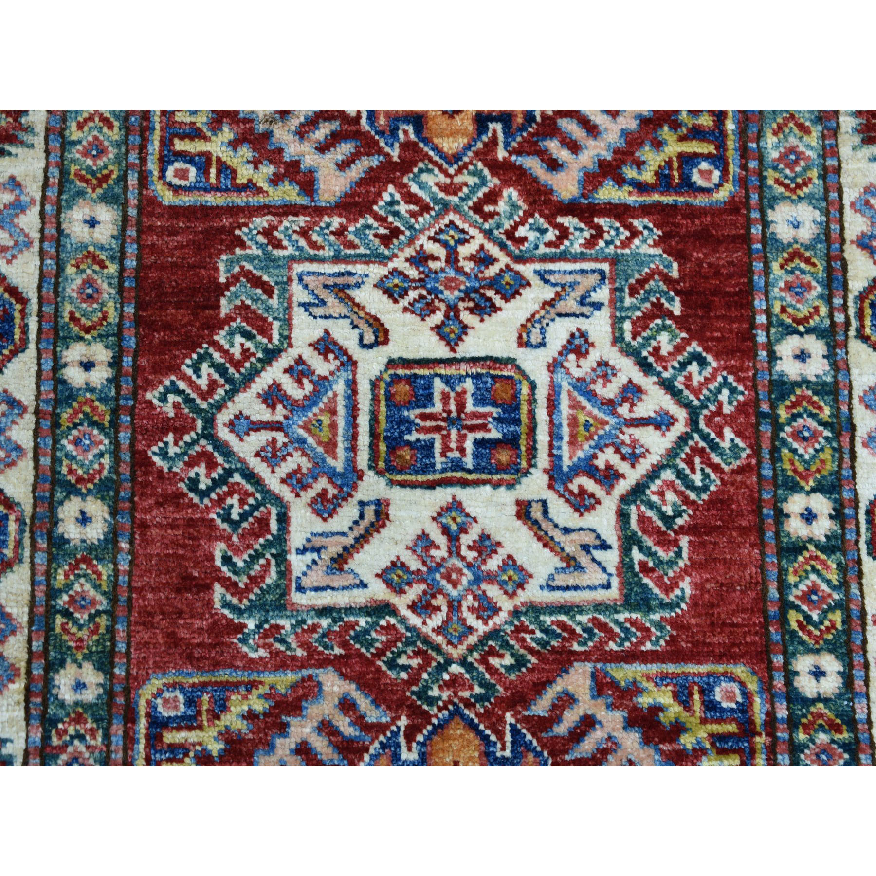 2-10 x4- Red Super Kazak Pure Wool Geometric Design Hand-Knotted Oriental Rug