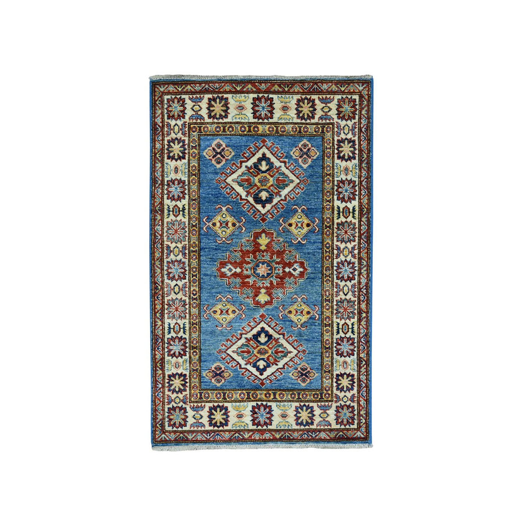 "2'9""X4'1"" Blue Super Kazak Geometric Design Pure Wool Hand-Knotted Oriental Rug moaea076"