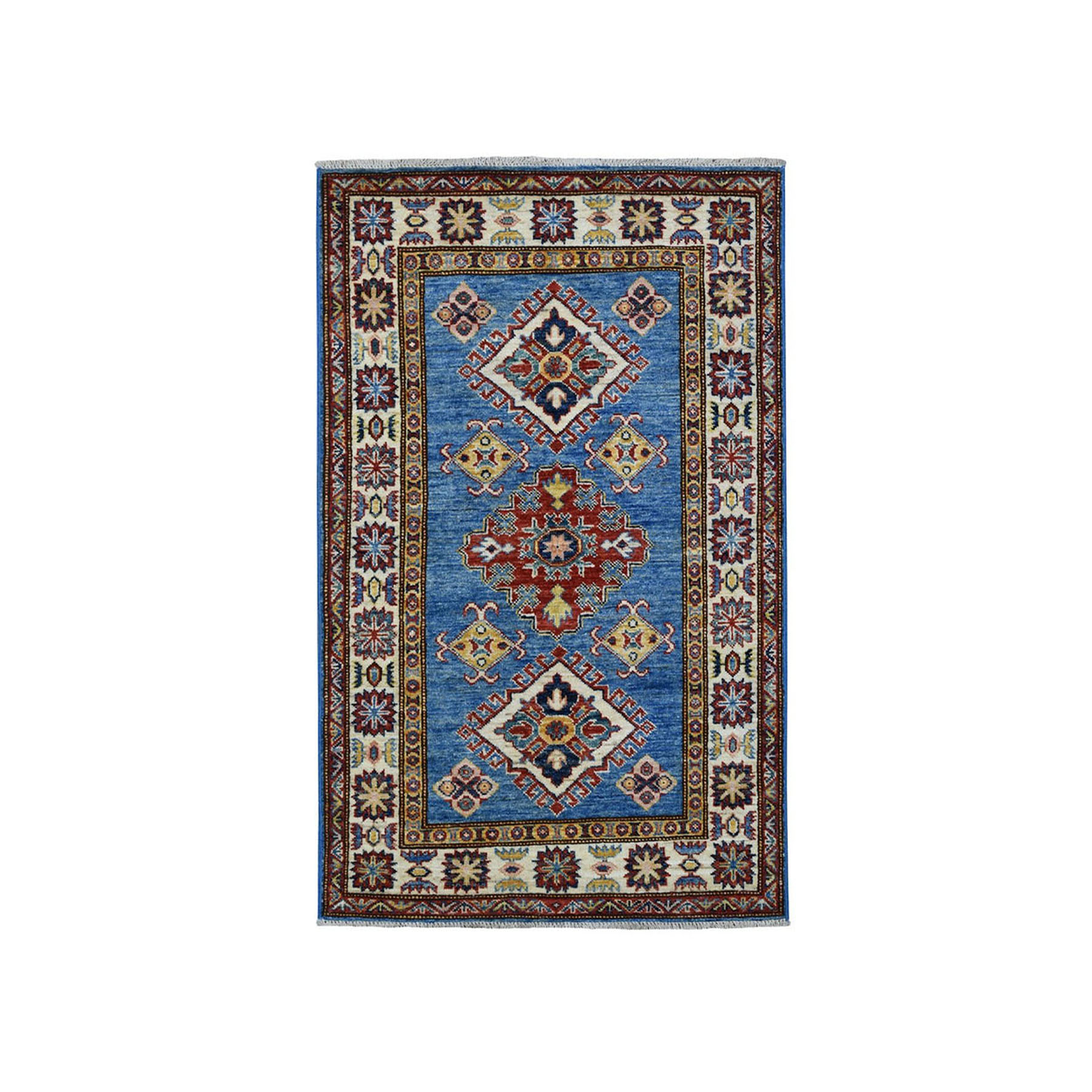 "2'9""X4'4"" Blue Super Kazak Geometric Design Pure Wool Hand-Knotted Oriental Rug moaea078"