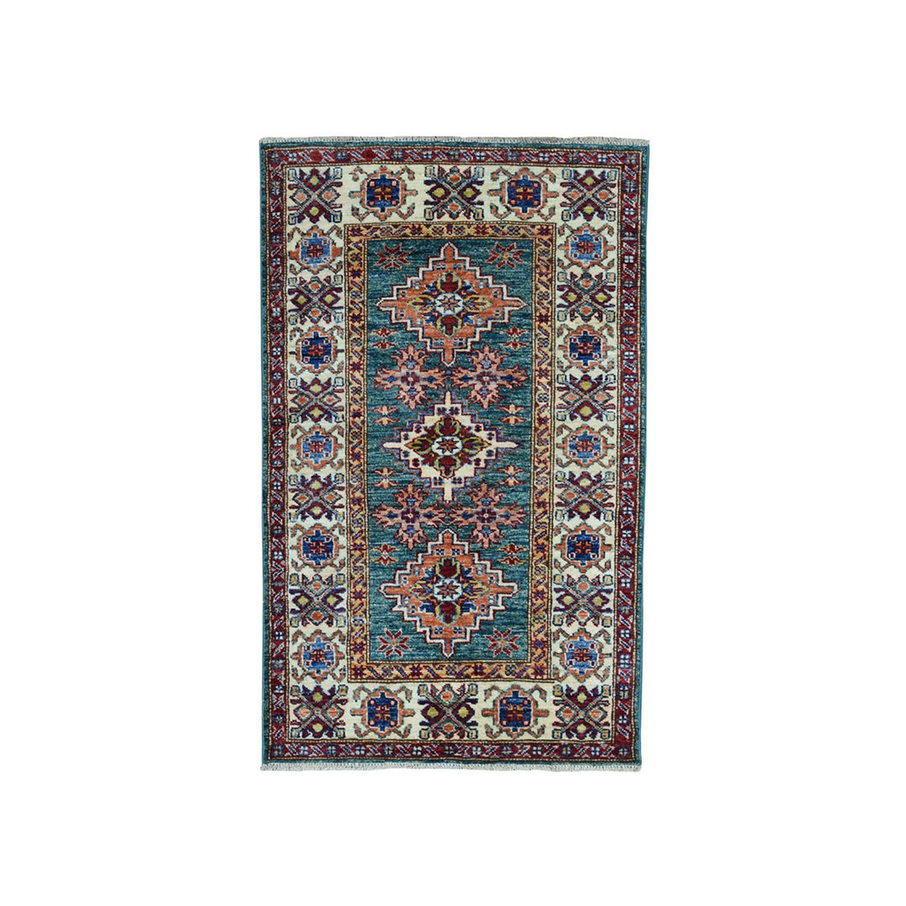 "2'4""X4'1"" Green Super Kazak Pure Wool Geometric Design Hand-Knotted Oriental Rug moaea079"