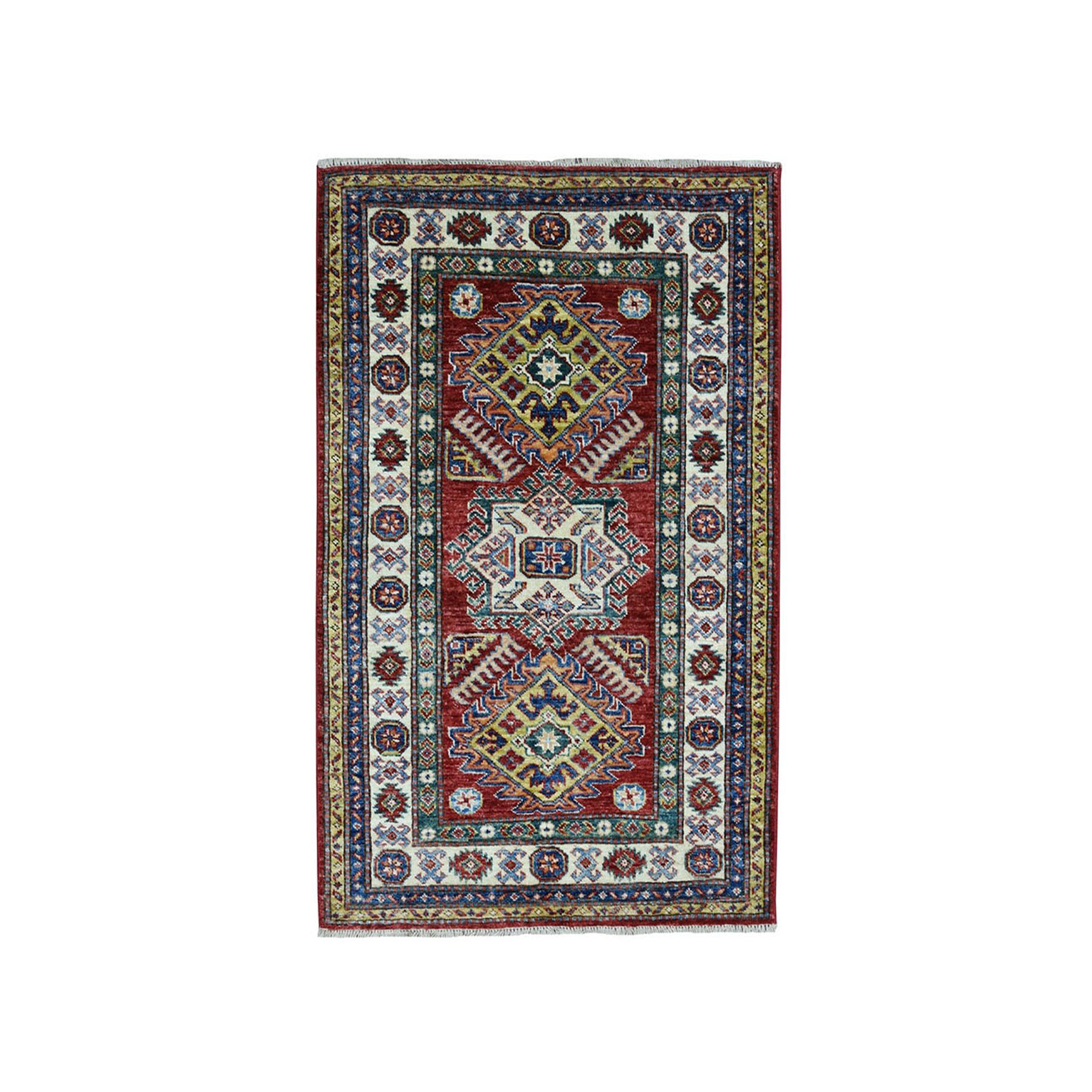 3'X4' Red Super Kazak Pure Wool Geometric Design Hand-Knotted Oriental Rug moaea080