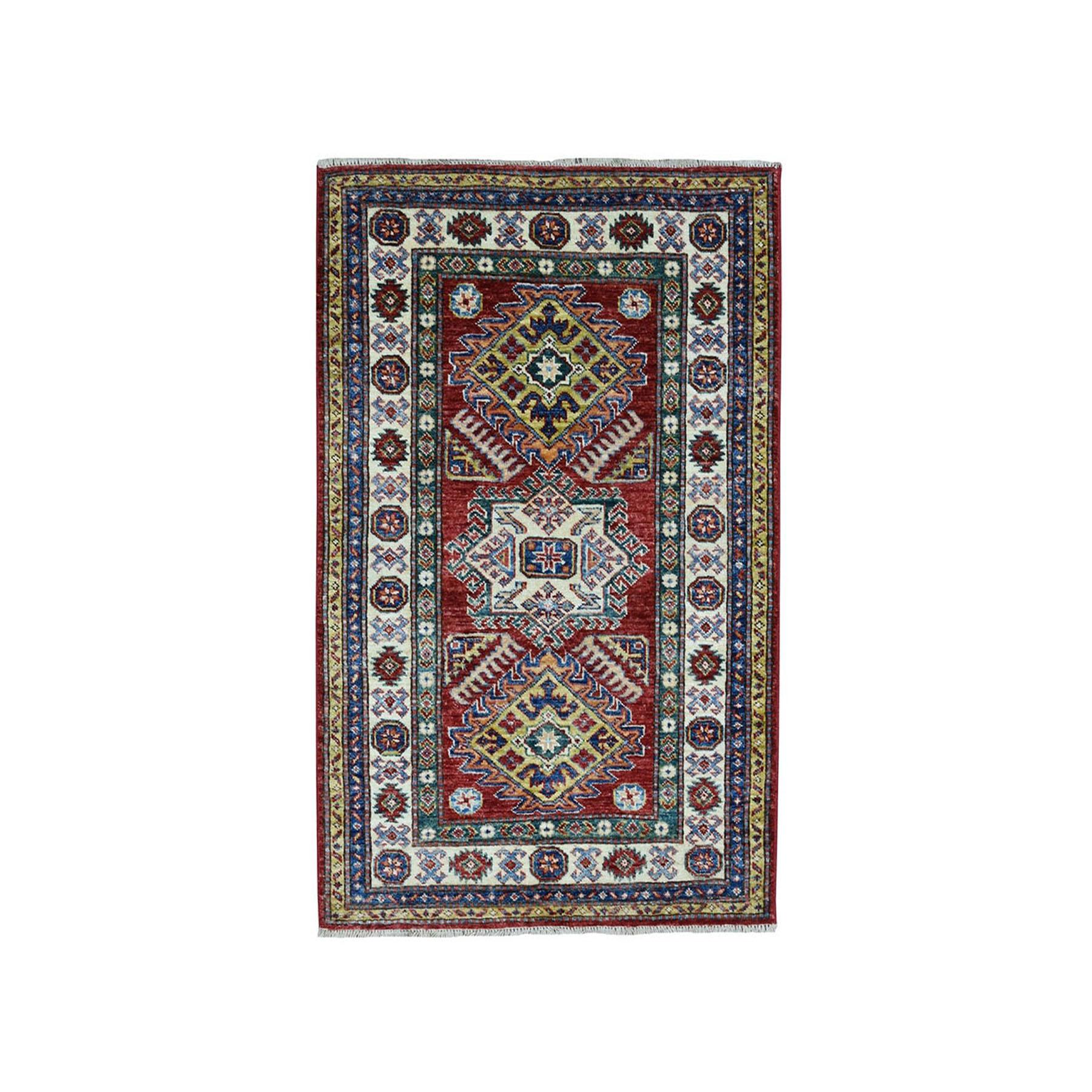 3'X4' Red Super Kazak Pure Wool Geometric Design Hand-Knotted Oriental Rug moaea080