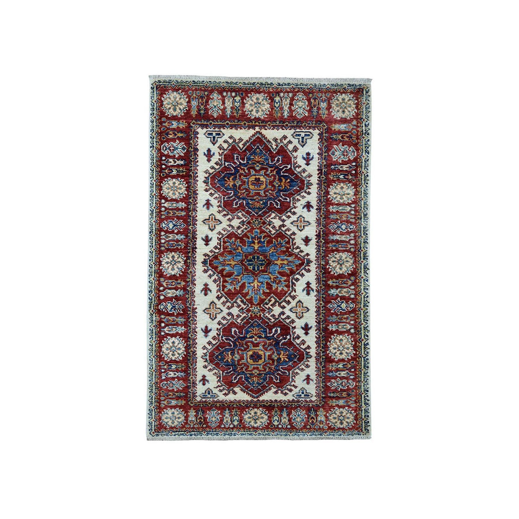 "2'9""X4'6"" Ivory Super Kazak Pure Wool Geometric Design Hand-Knotted Oriental Rug moaea08b"