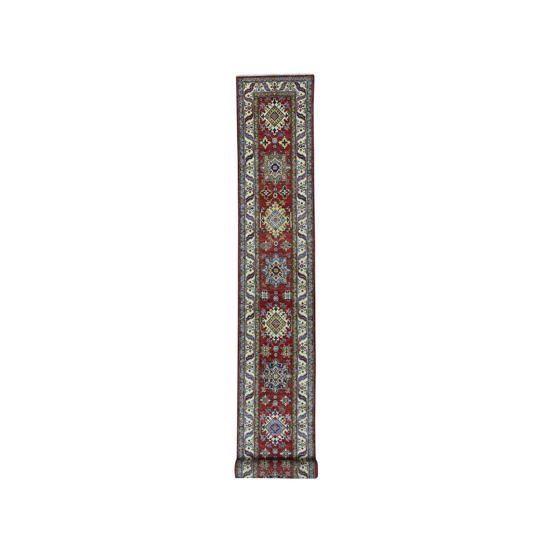 """2'6""""X19'8"""" Red Super Kazak Pure Wool Geometric Design Hand-Knotted Xl Runner Oriental Rug moaea08d"""