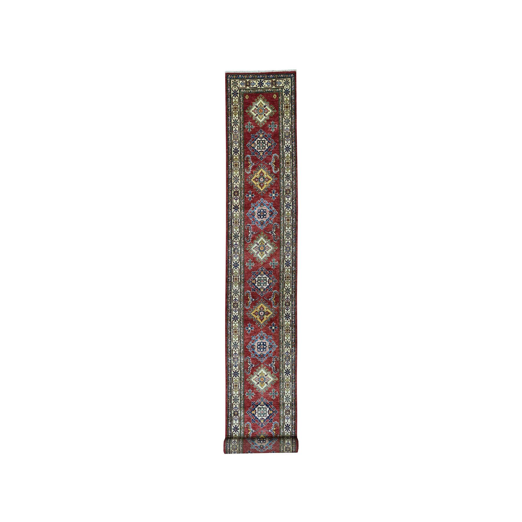 "2'4""X18'2"" Red Super Kazak Pure Wool Geometric Design Hand-Knotted Xl Runner Oriental Rug moaea08e"