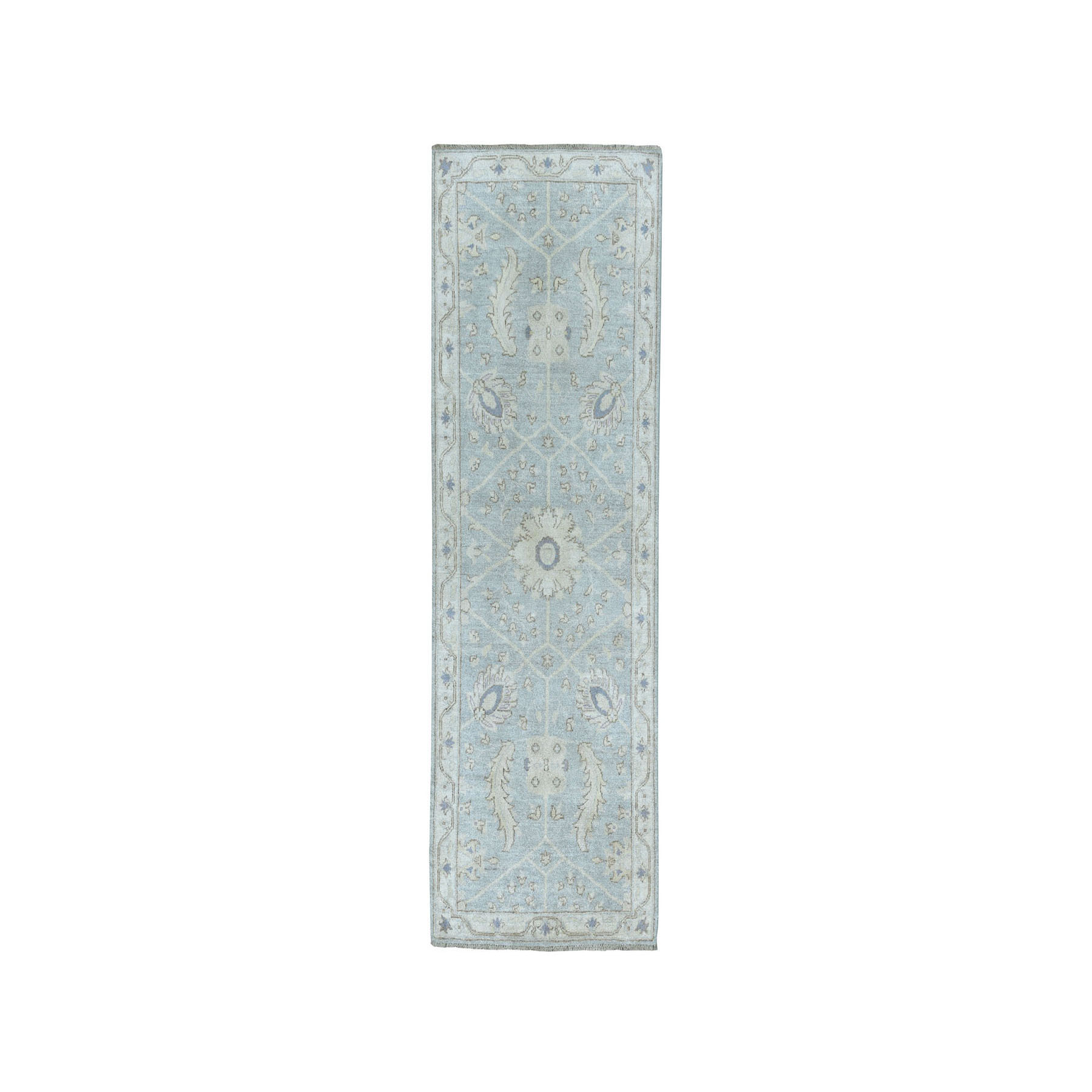 "2'10""X6'9"" White Wash Peshawar Pure Wool Hand-Knotted Runner Oriental Rug moaea088"
