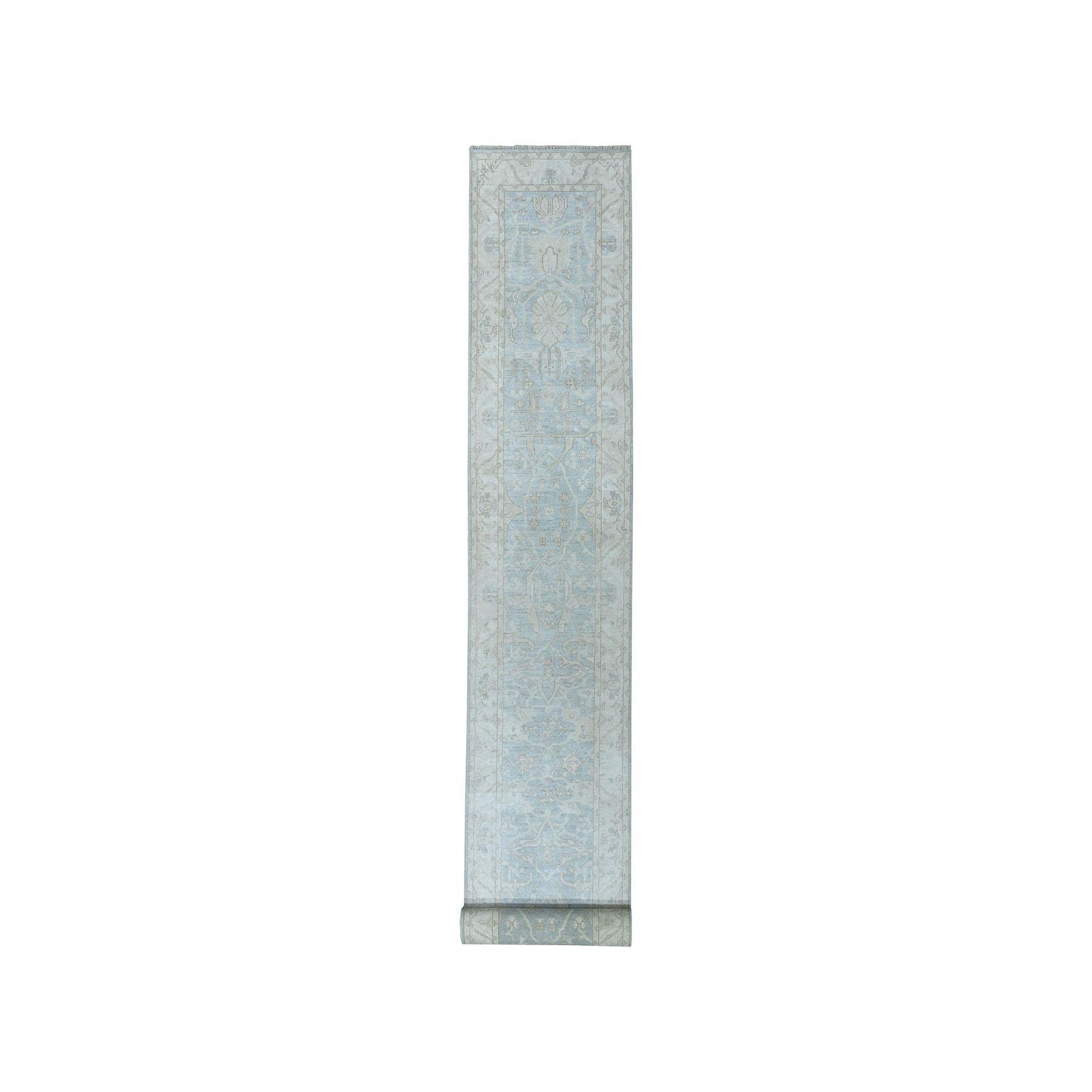 "2'8""X16' White Wash Peshawar Pure Wool Hand-Knotted Xl Runner Oriental Rug moaea09b"