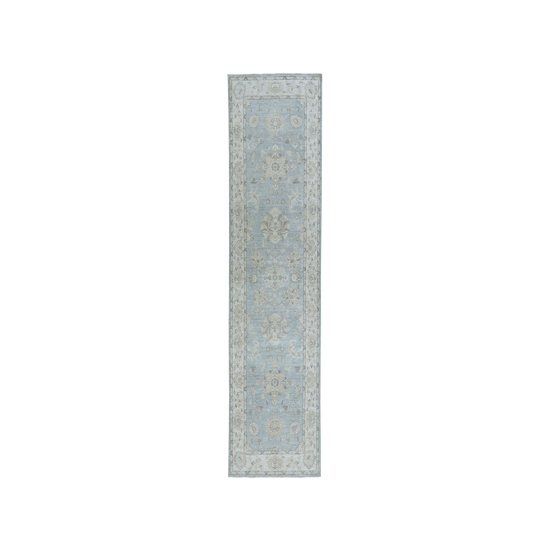 "3'X10'1"" White Wash Peshawar Pure Wool Hand-Knotted Runner Oriental Rug moaea09c"