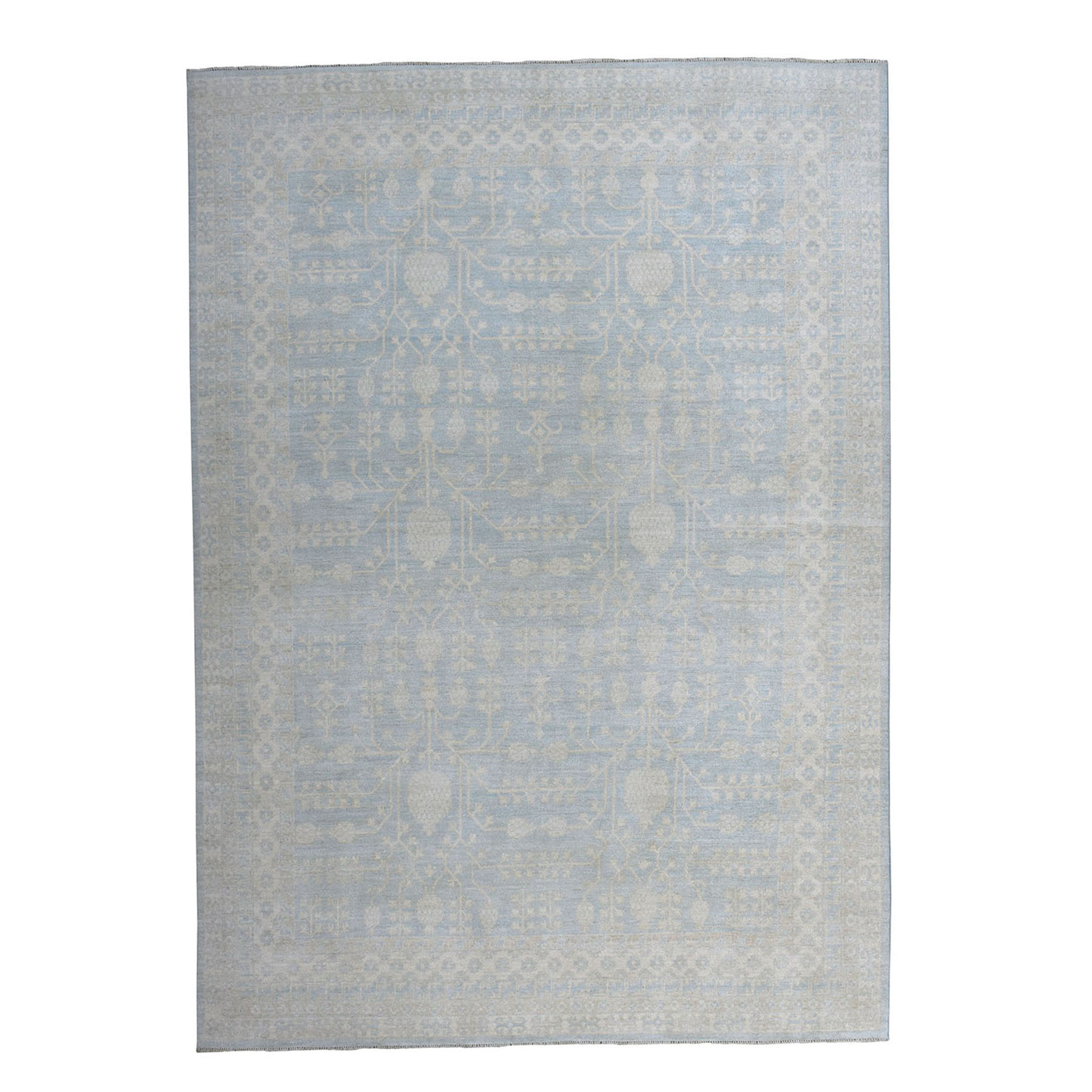 "8'10""X12' White Wash Peshawar Samarkand Hand-Knotted Pure Wool Oriental Rug moaeaa0d"
