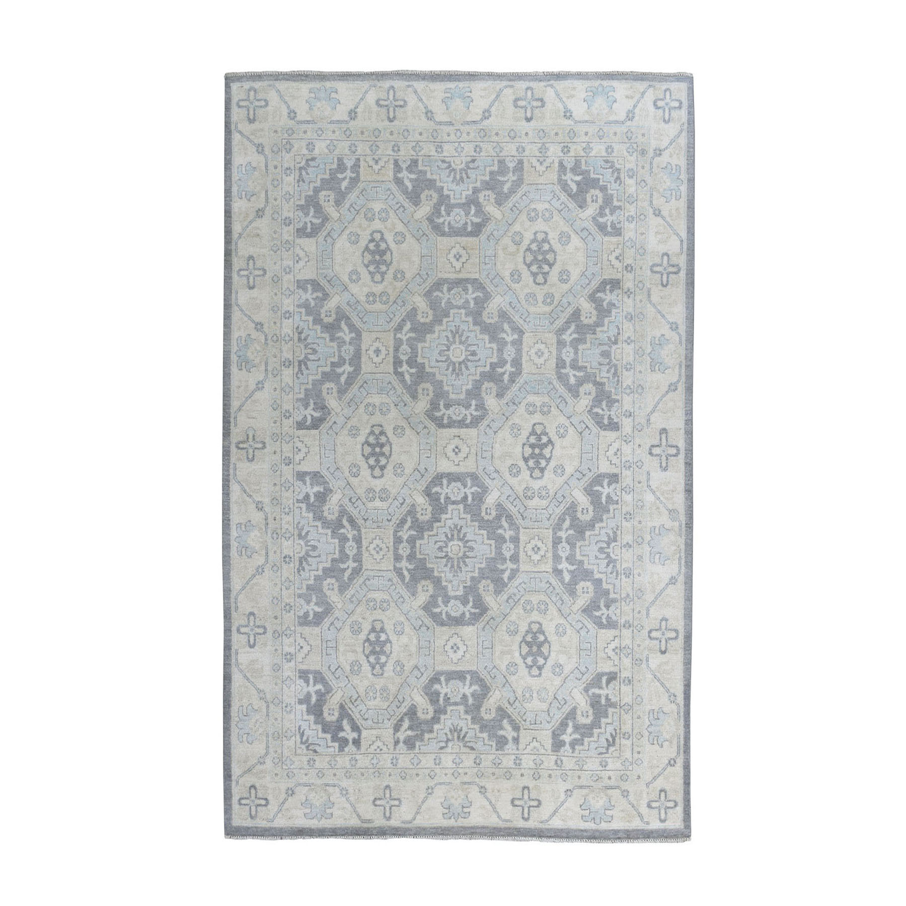 "5'9""x8'6"" White Wash Peshawar Pure Wool Hand-Knotted Oriental Rug"