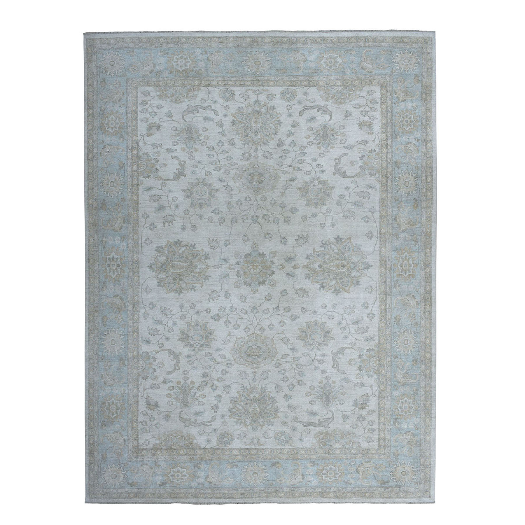 """8'10""""X11'10"""" White Wash Peshawar Pure Wool Hand-Knotted Oriental Rug moaeaa06"""