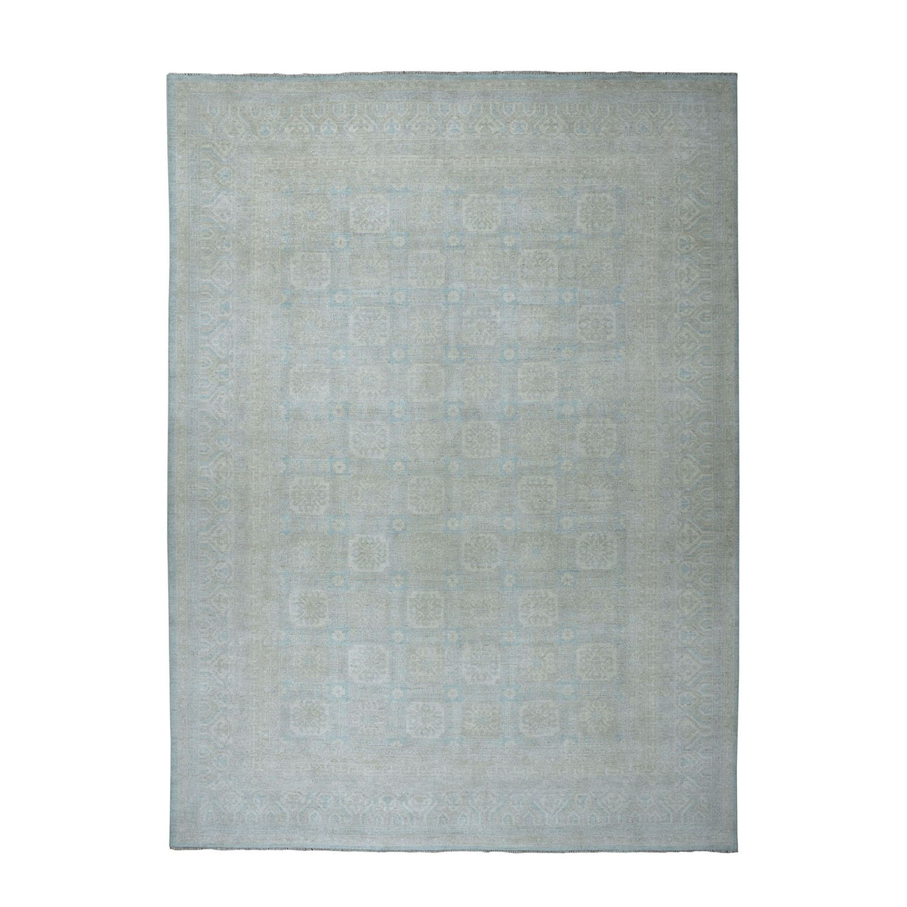 """10'3""""x13'8"""" White Wash Peshawar Pure Wool Hand-Knotted Oriental Rug 51107"""
