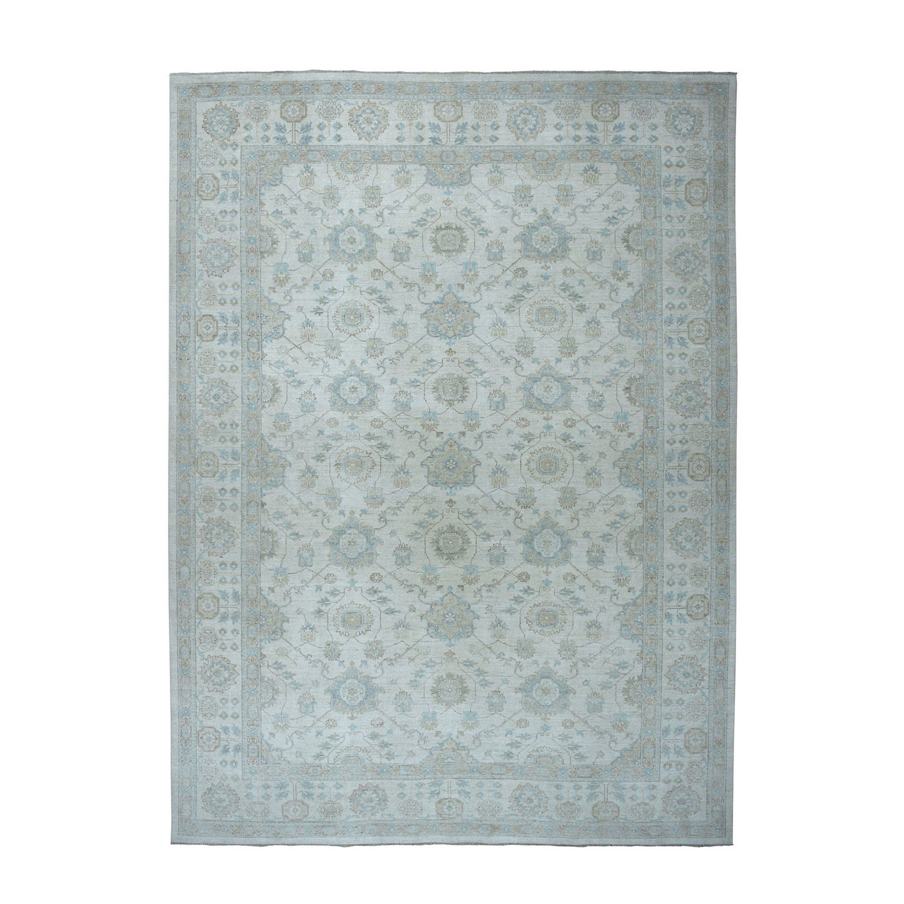 """10'X14'1"""" White Wash Peshawar Pure Wool Hand-Knotted Oriental Rug moaeaa08"""