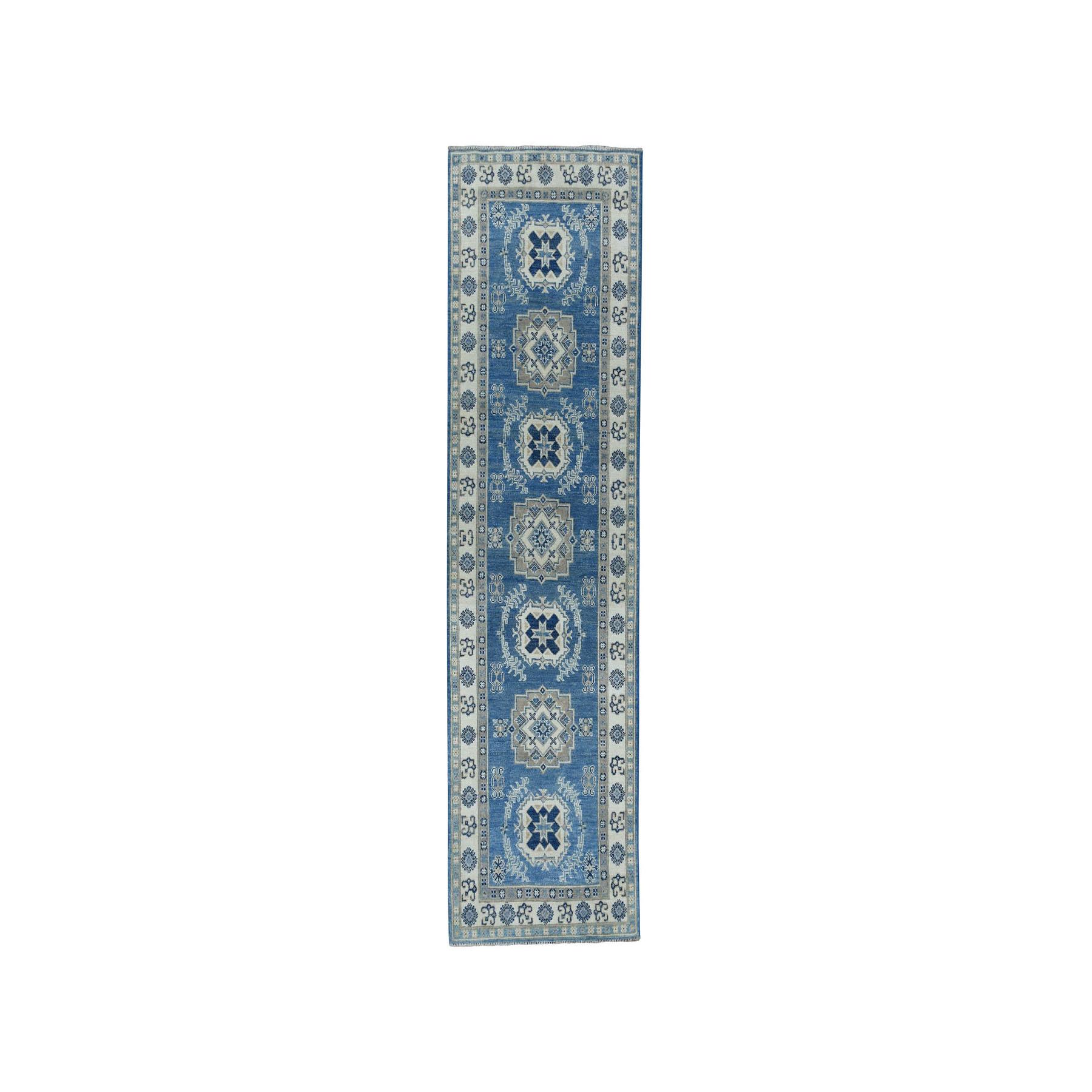 "2'7""X8'1"" Vintage Look Kazak Geometric Design Blue Runner Pure Wool Hand-Knotted Oriental Rug moaeaaa0"