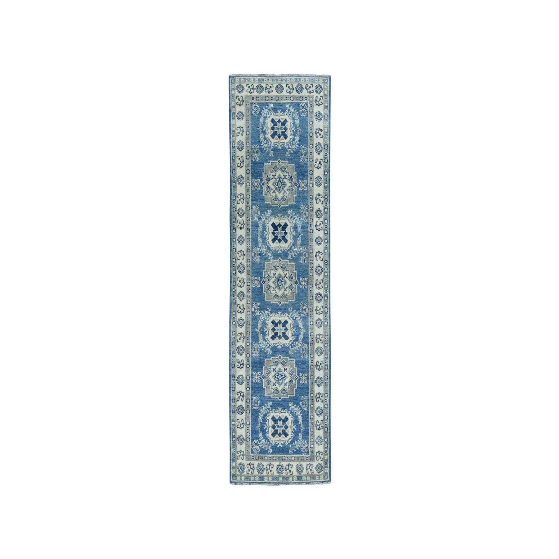 "2'7""X8' Vintage Look Kazak Geometric Design Blue Runner Pure Wool Hand-Knotted Oriental Rug moaeaaaa"