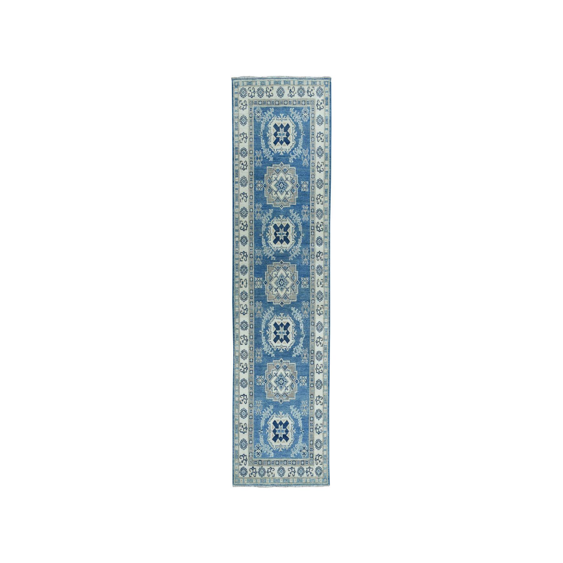 "2'6""X8'1"" Vintage Look Kazak Geometric Design Blue Runner Pure Wool Hand-Knotted Oriental Rug moaeaaab"