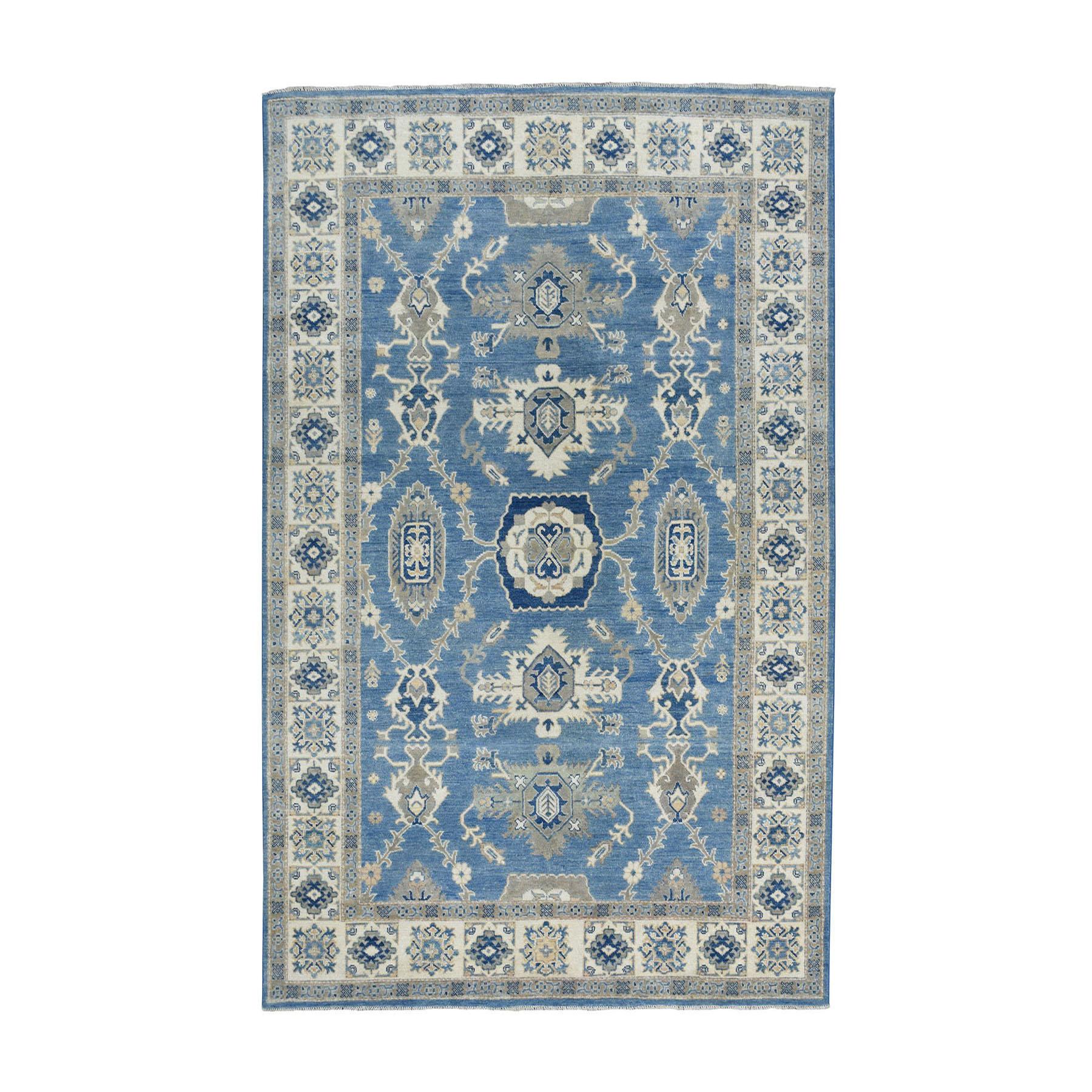"6'2""X9' Blue Vintage Look Kazak Geometric Design Hand-Knotted Oriental Rug moaeaaae"