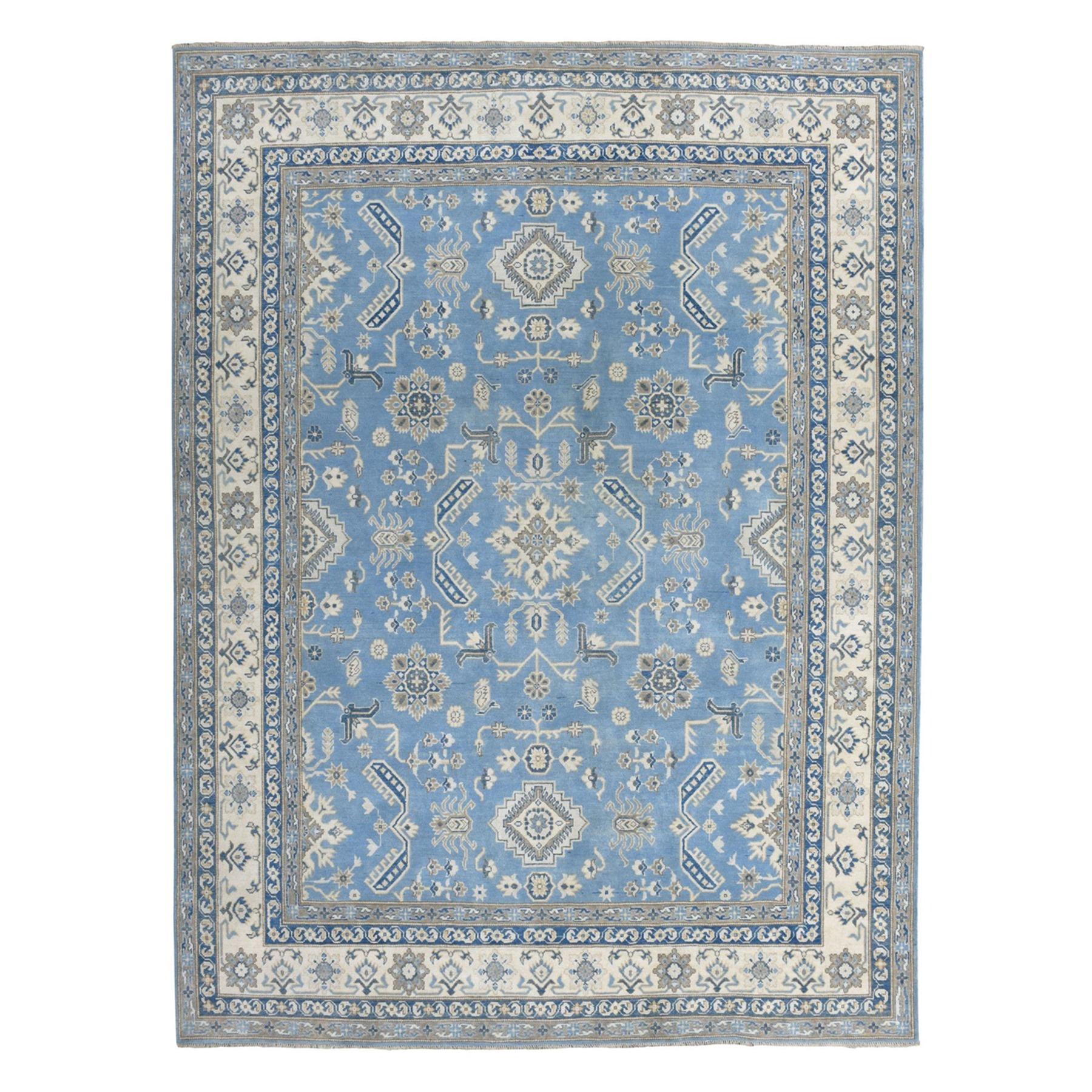 "8'2""X9'9"" Blue Vintage Look Kazak Geometric Design Hand-Knotted Oriental Rug moaeaaa8"