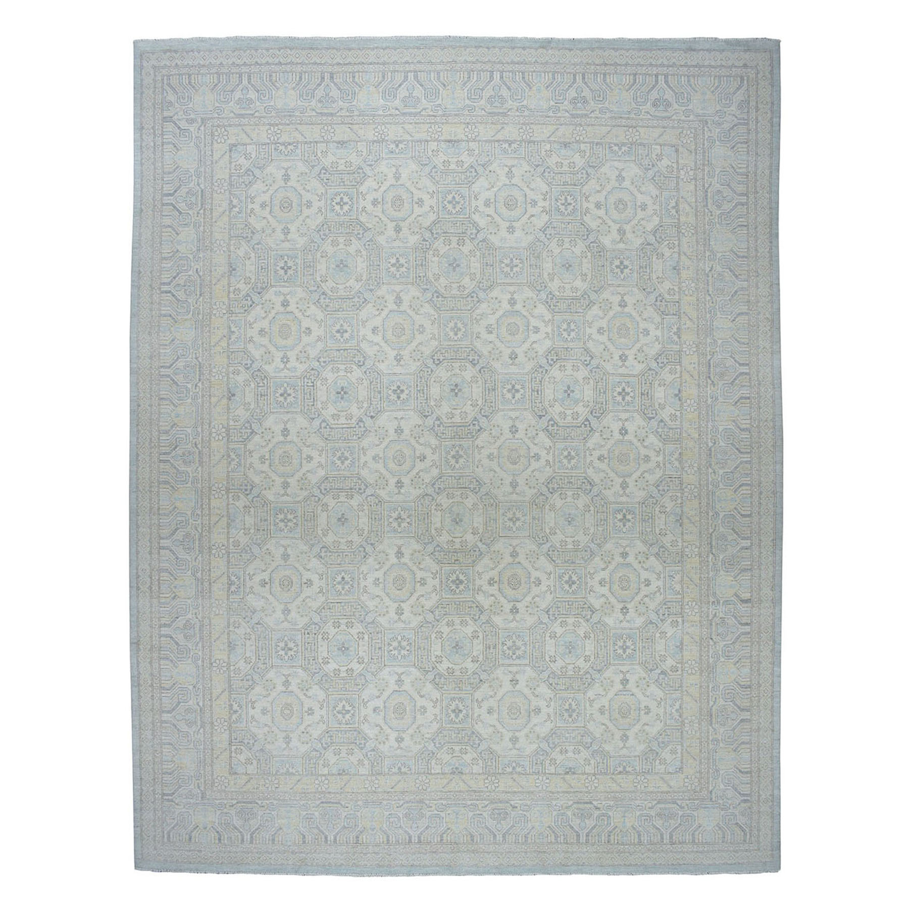 """11'9""""X14'6"""" Overized White Wash Peshawar Pure Wool Hand-Knotted Oriental Rug moaeaaba"""