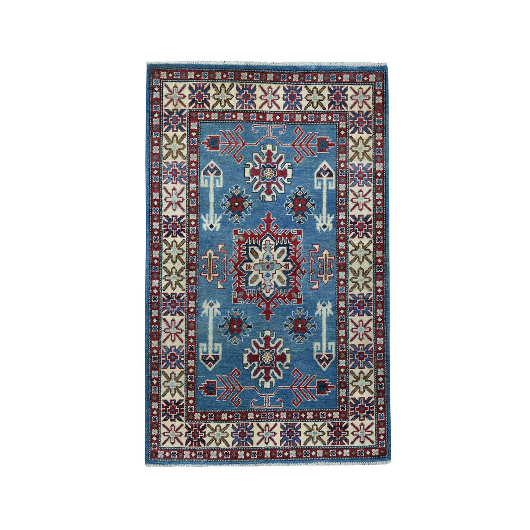 "3'2""X4'10"" Blue Geometric Design Kazak Pure Wool Hand-Knotted Oriental Rug moaeaab8"