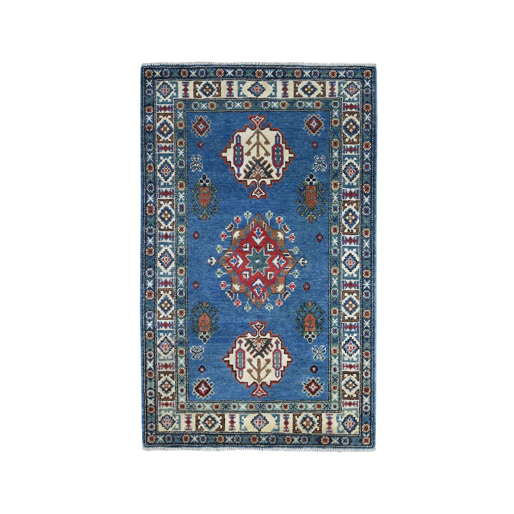 "3'2""X5'1"" Blue Geometric Design Kazak Pure Wool Hand-Knotted Oriental Rug moaeaab9"