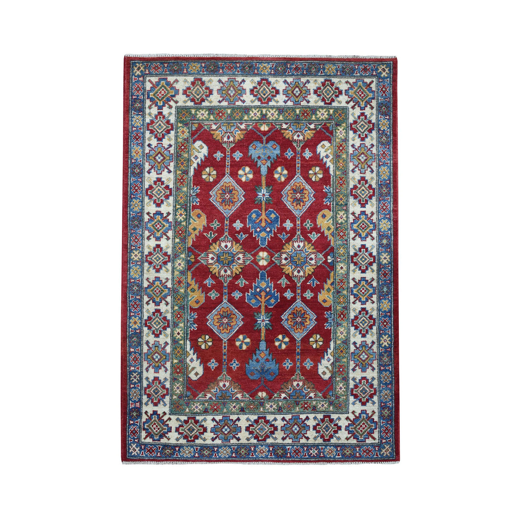 4'X6' Red Geometric Design Kazak Pure Wool Hand-Knotted Oriental Rug moaeaac0