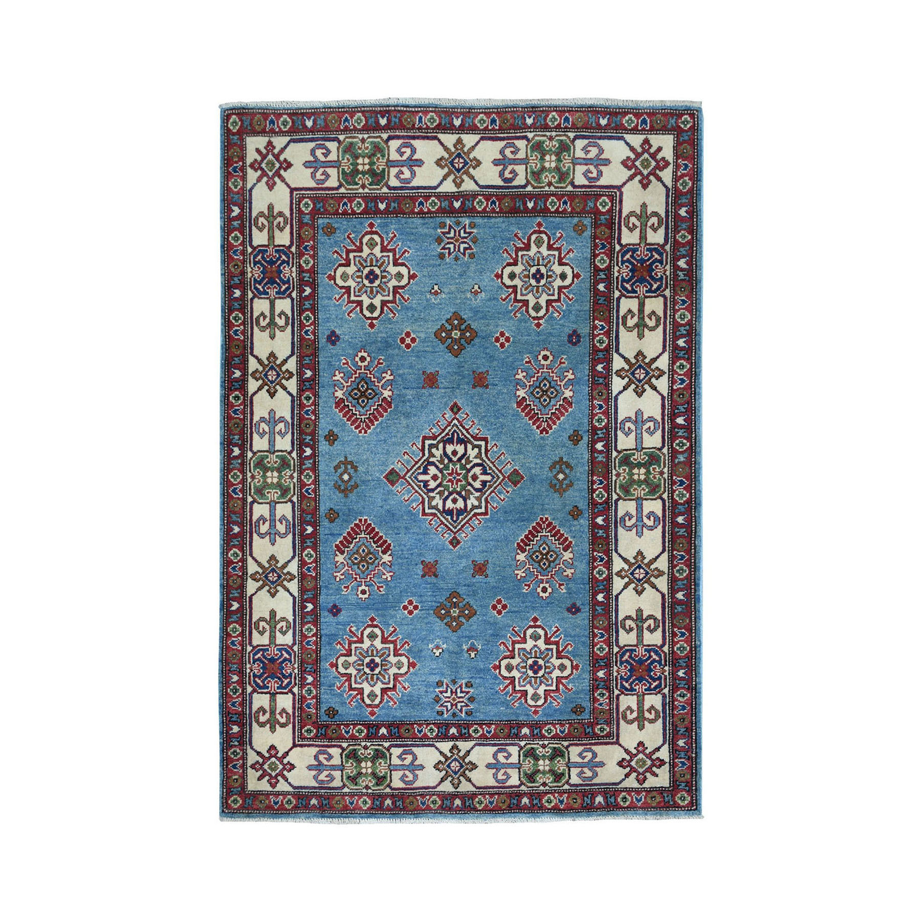 "4'X5'7"" Blue Geometric Design Kazak Pure Wool Hand-Knotted Oriental Rug moaeaace"