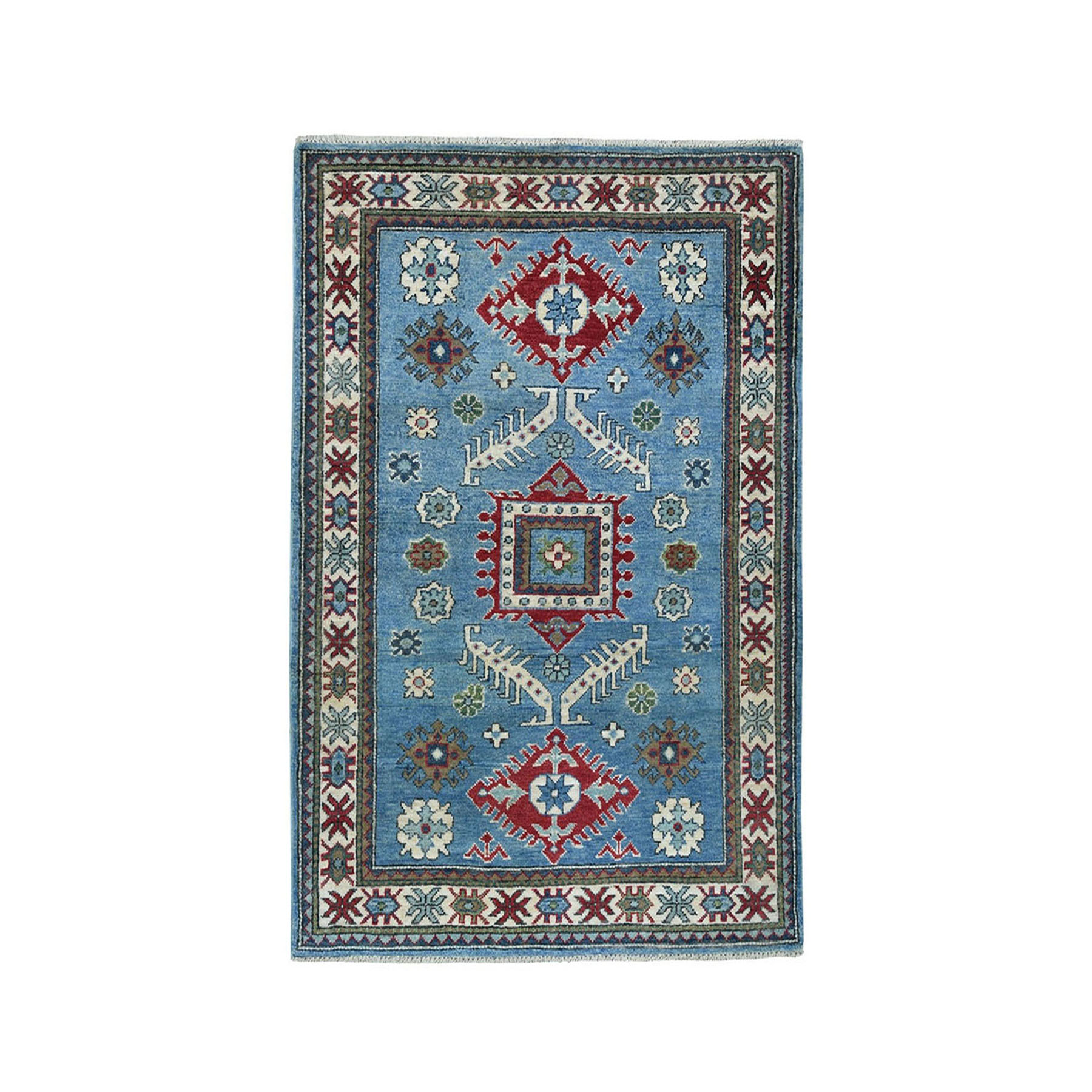 "3'2""X4'8"" Blue Geometric Design Kazak Pure Wool Hand-Knotted Oriental Rug moaeaac6"