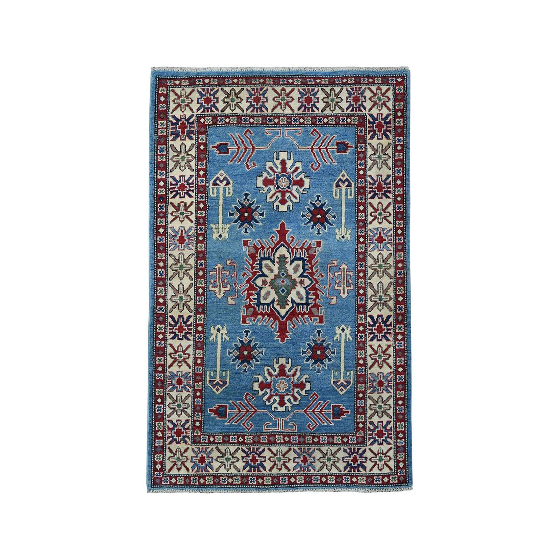 "3'3""X4'10"" Blue Geometric Design Kazak Pure Wool Hand-Knotted Oriental Rug moaeaac7"