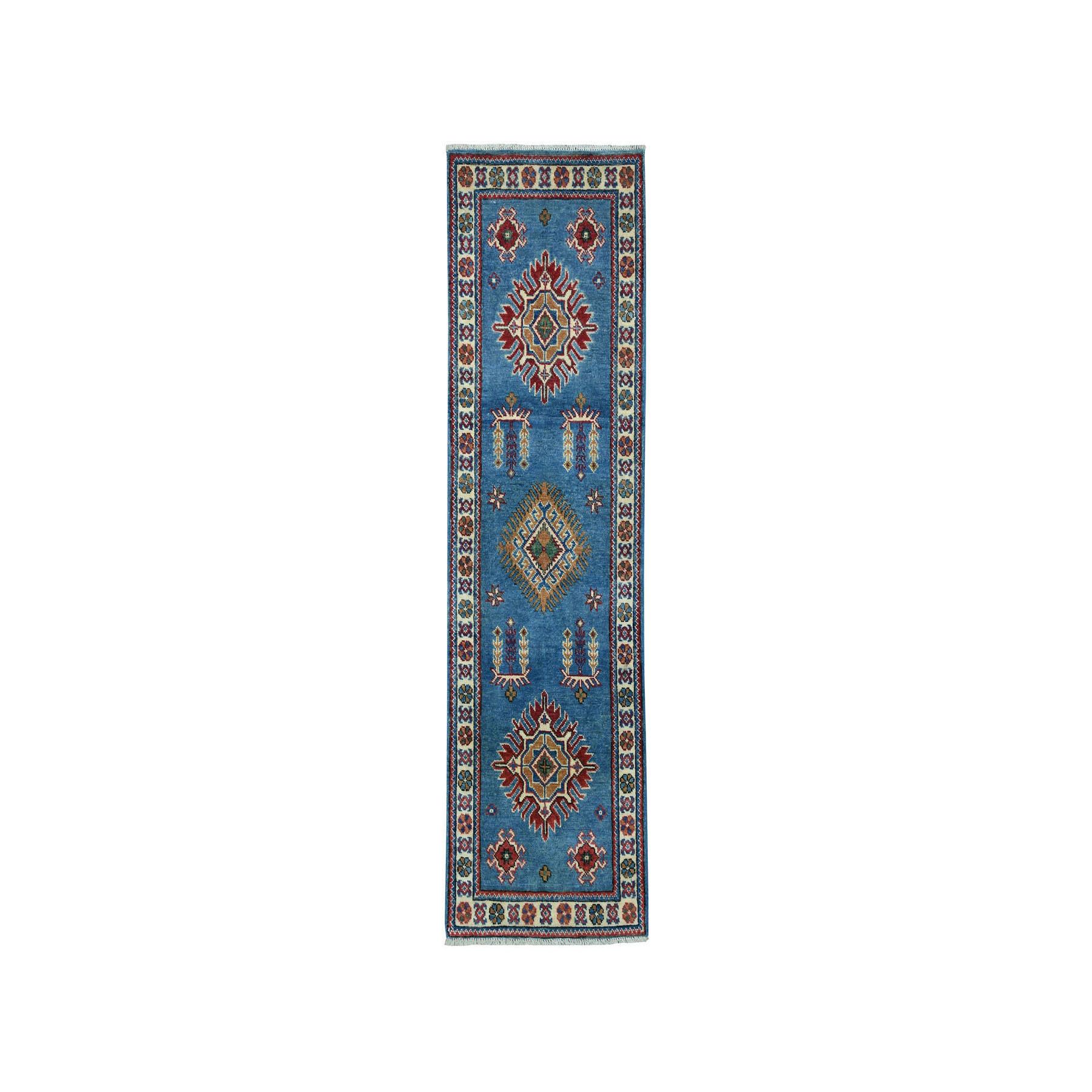 """1'10""""X5'8"""" Blue Geometric Design Kazak Pure Wool Hand-Knotted Oriental Runner Rug moaeaac8"""