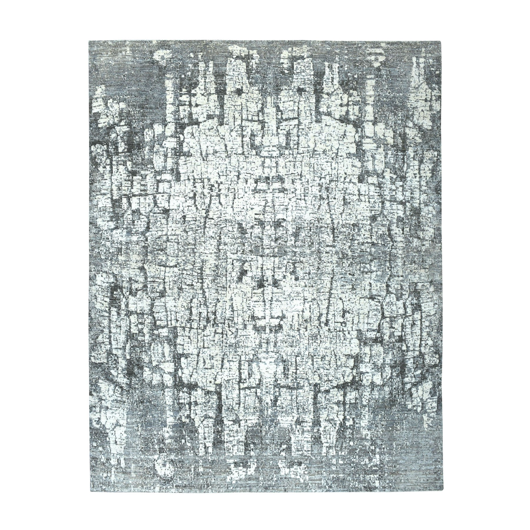 "7'10""X10'3"" The Tree Bark Abstract Hand-Knotted Gray Soft Wool Oriental Rug moaeaac9"