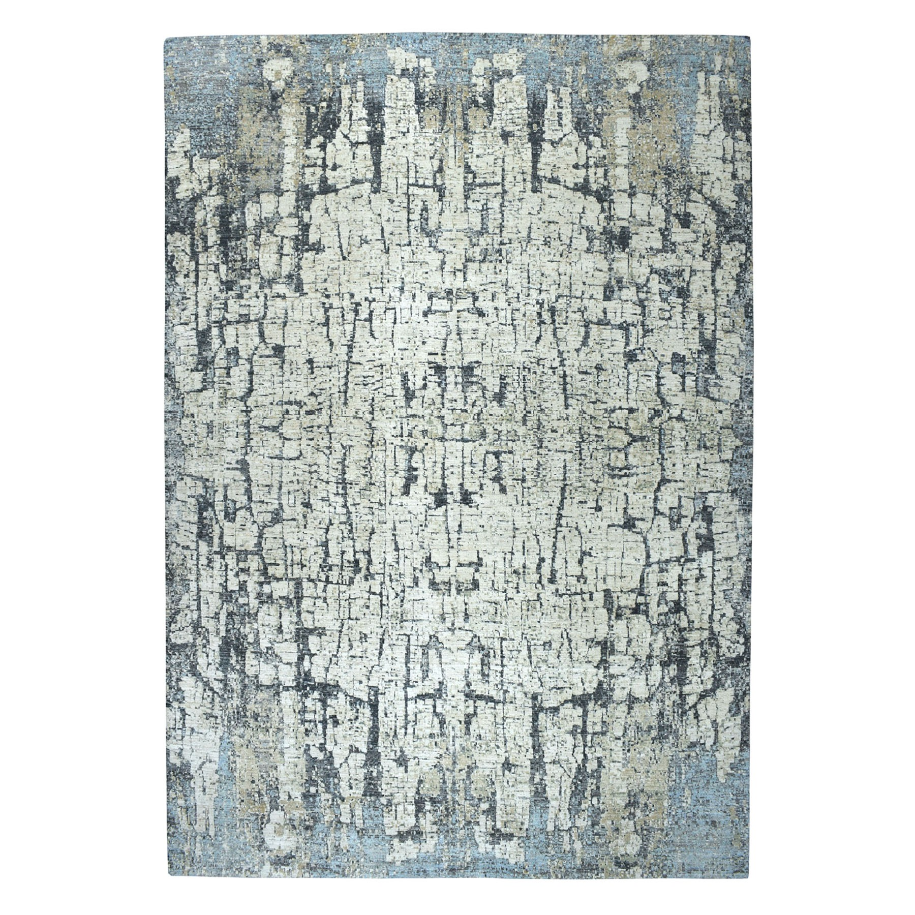 "9'9""X13'8"" The Tree Bark Abstract Hand-Knotted Soft Wool Oriental Rug moaeaad0"