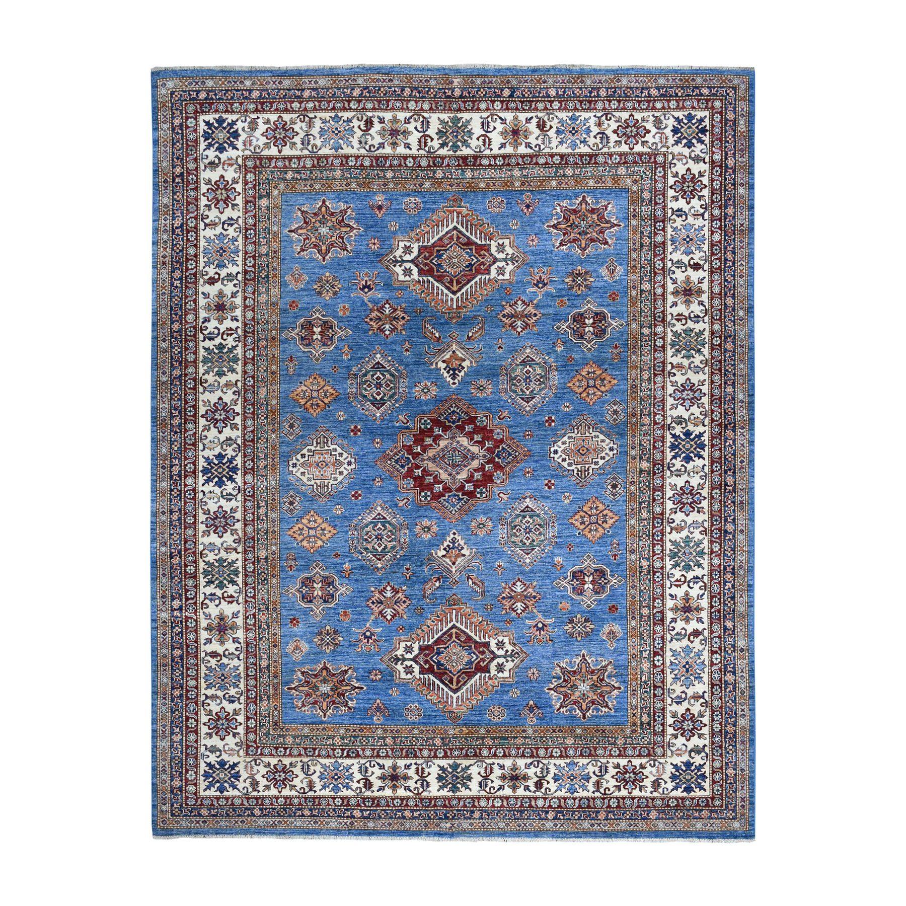 "8'2""X10' Blue Super Kazak Geometric Design Pure Wool Hand-Knotted Oriental Rug moaeaade"