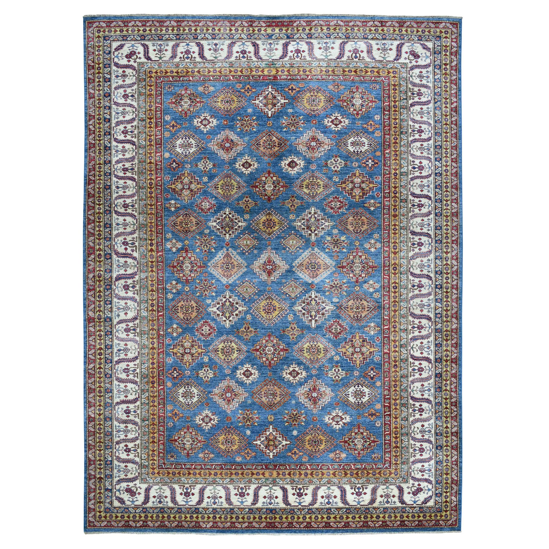 "8'6""X11'9"" Blue Super Kazak Geometric Design Pure Wool Hand-Knotted Oriental Rug moaeaad6"
