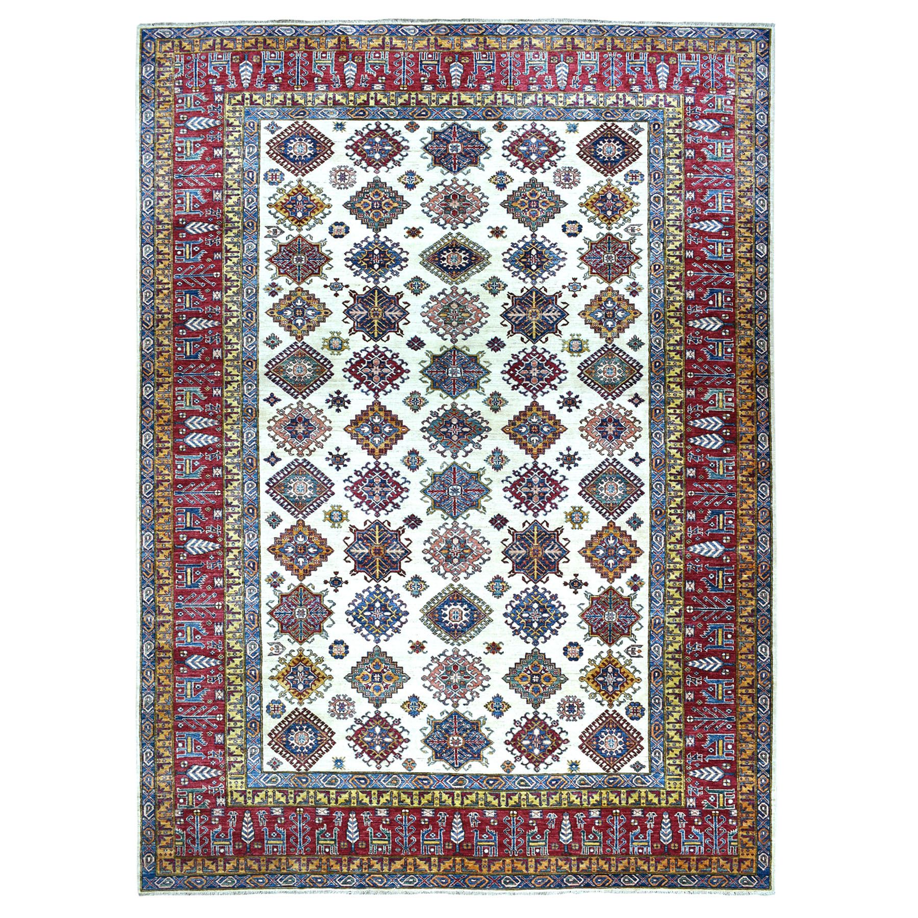 "8'8""X12'4"" Ivory Super Kazak Pure Wool Geometric Design Hand-Knotted Oriental Rug moaeaad7"