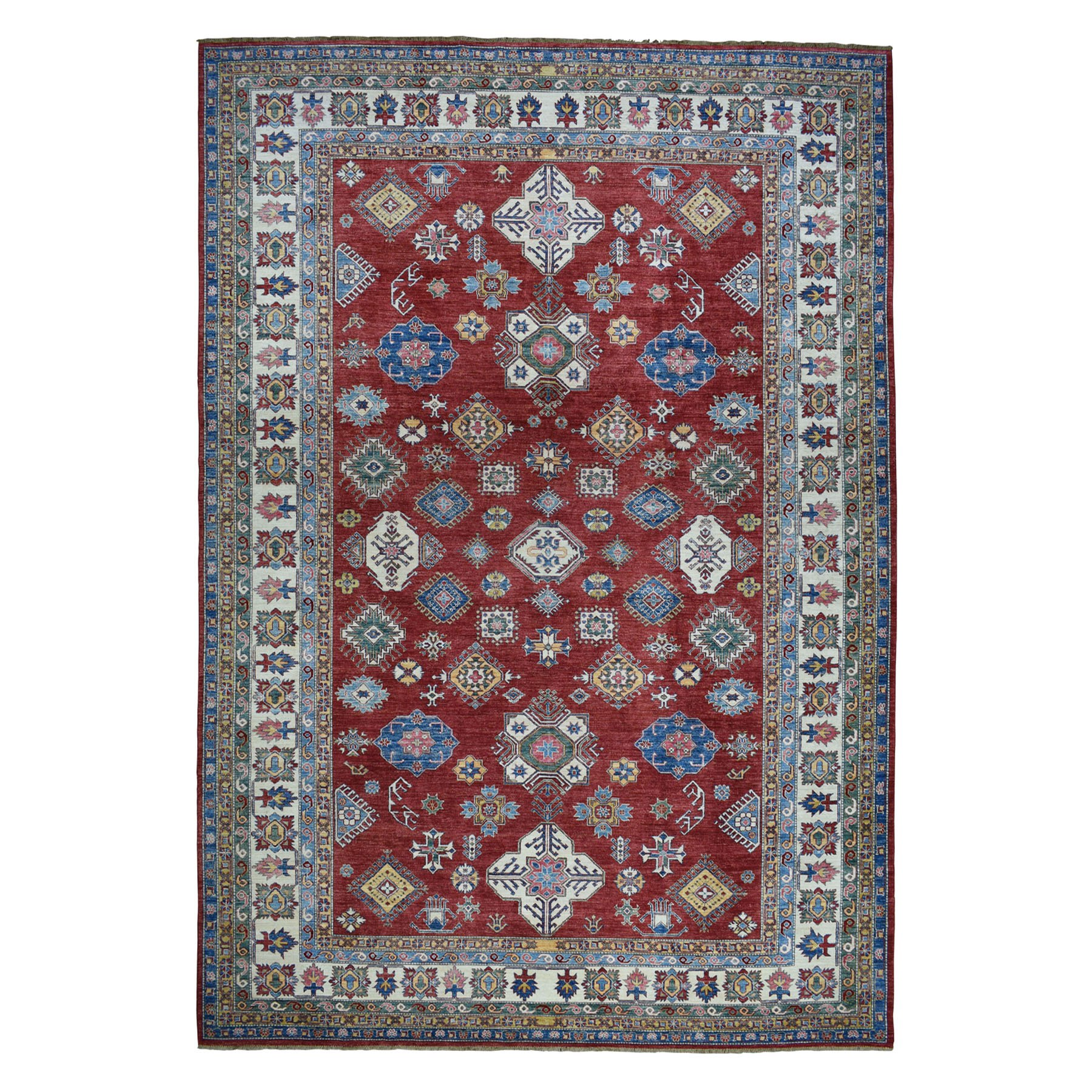 "10'9""X14' Red Super Kazak Pure Wool Geometric Design Hand-Knotted Oriental Rug moaeaad9"
