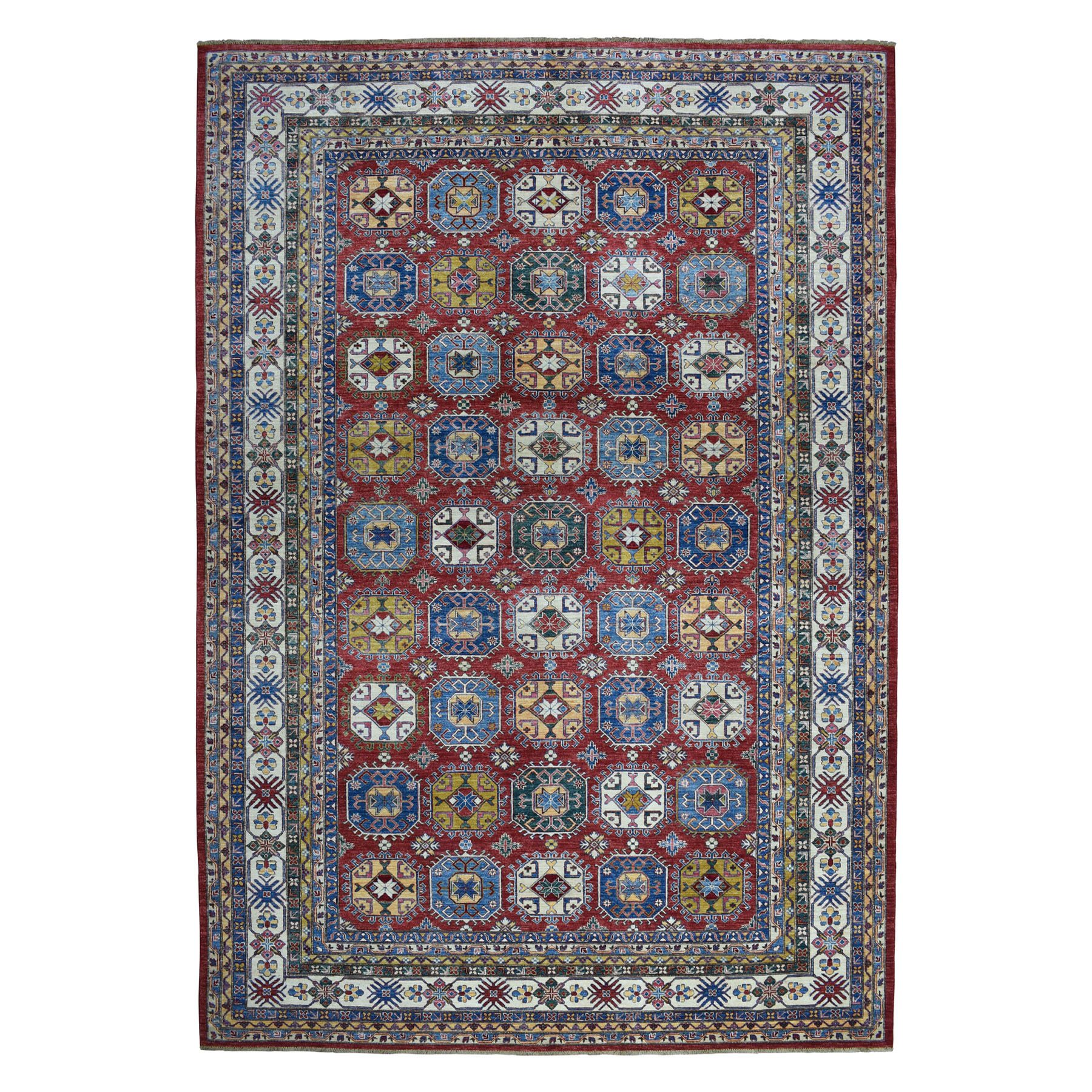 "10'8""X14'2"" Red Super Kazak Pure Wool Geometric Design Hand-Knotted Oriental Rug moaeaae0"