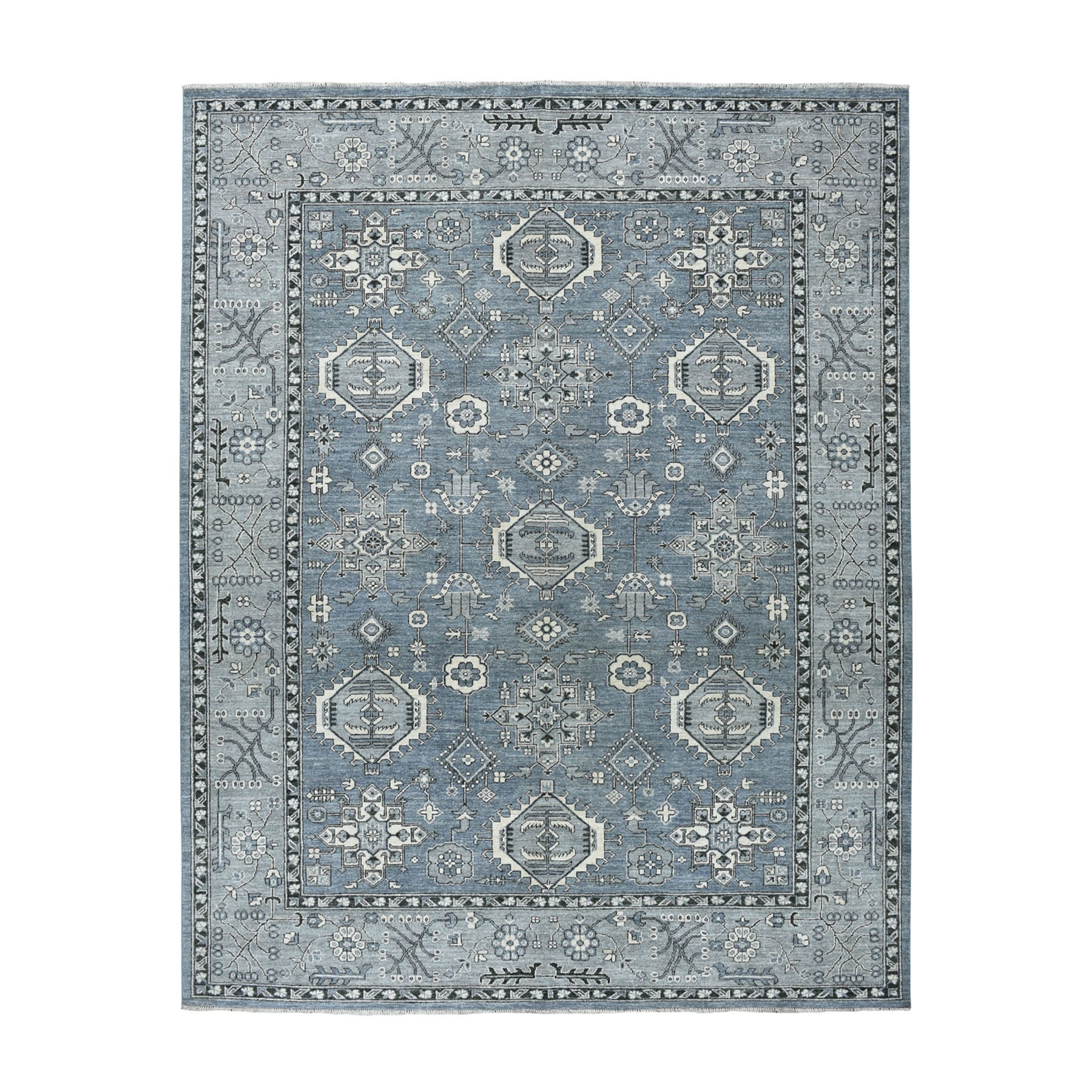 "8'1""X9'10"" Gray Pure Wool Hand-Knotted Peshawar With Karajeh Design Oriental Rug moaeaaeb"