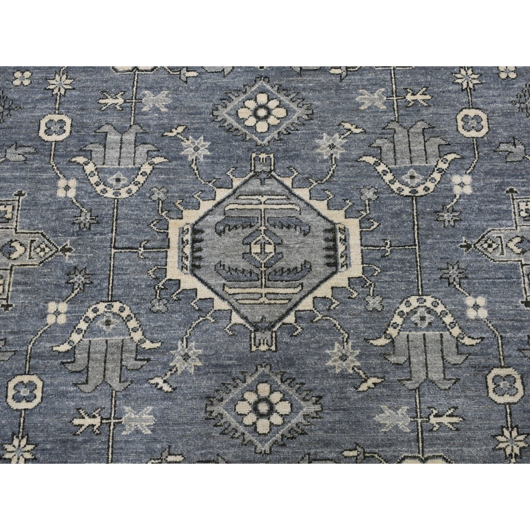 8-1 x9-10  Gray Pure Wool Hand-Knotted Peshawar With Karajeh Design Oriental Rug