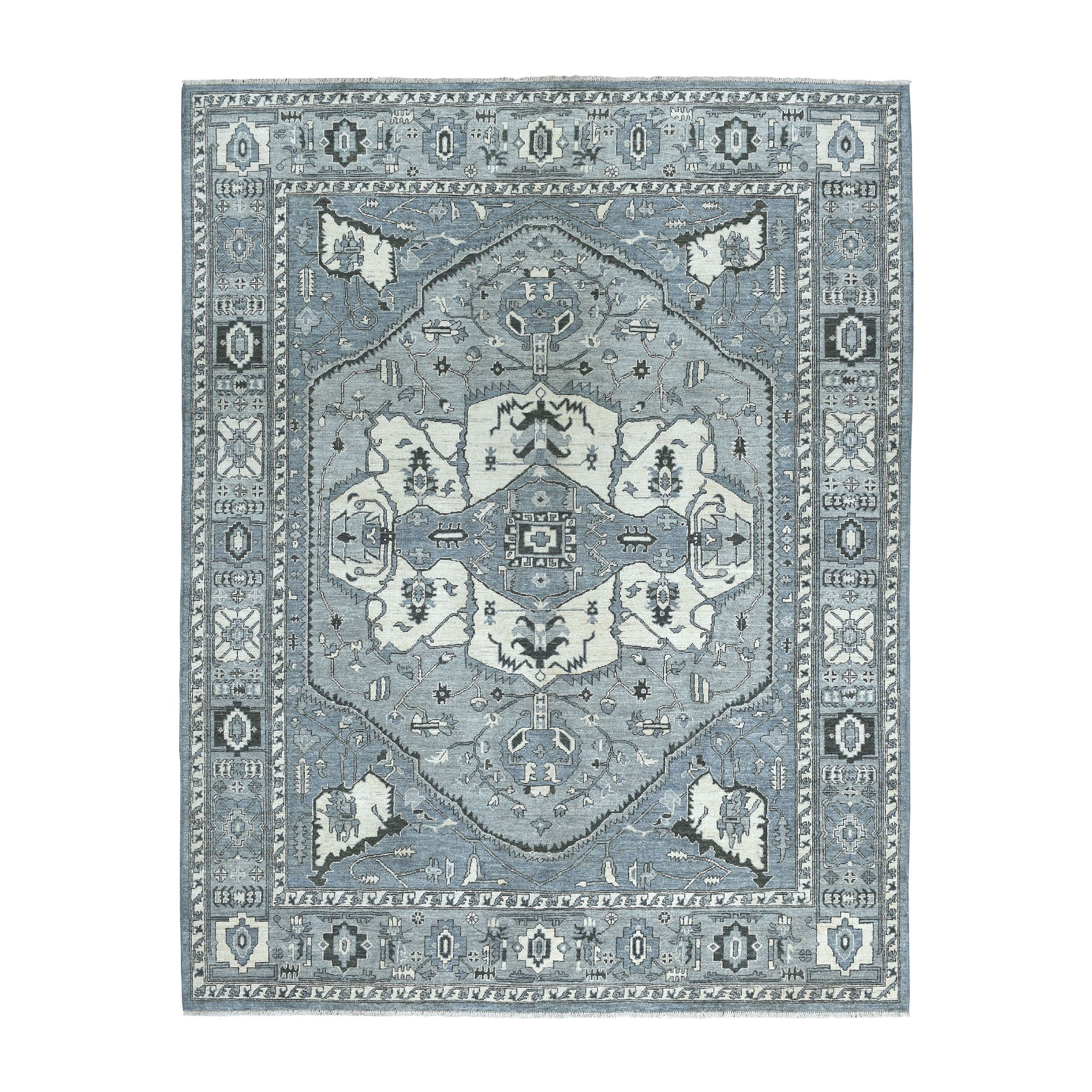 """8'x9'10"""" Gray Peshawar With Heriz Design Pure Wool Hand-Knotted Oriental Rug"""