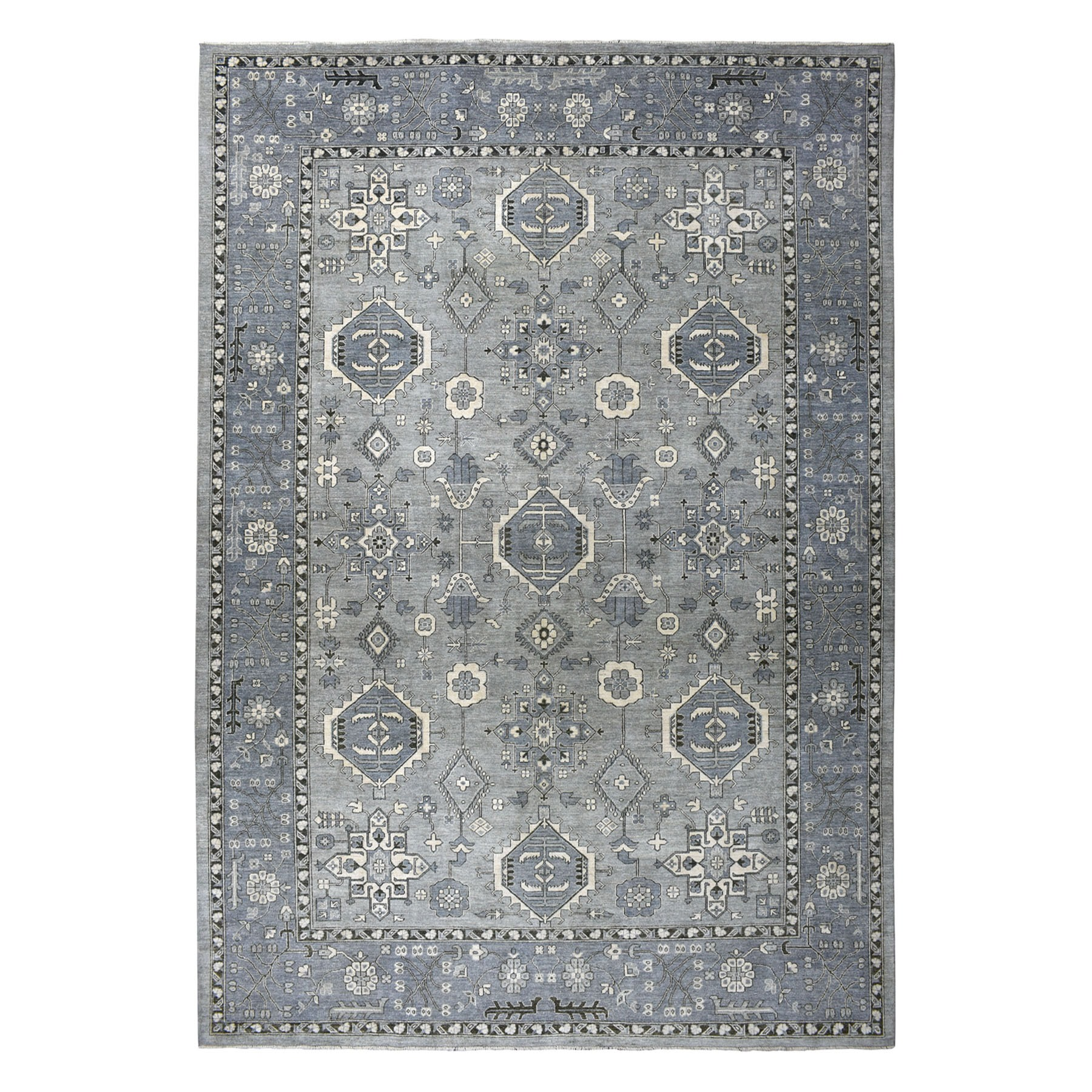 """10'x13'10"""" Gray Pure Wool Hand-Knotted Peshawar With Karajeh Design Oriental Rug"""