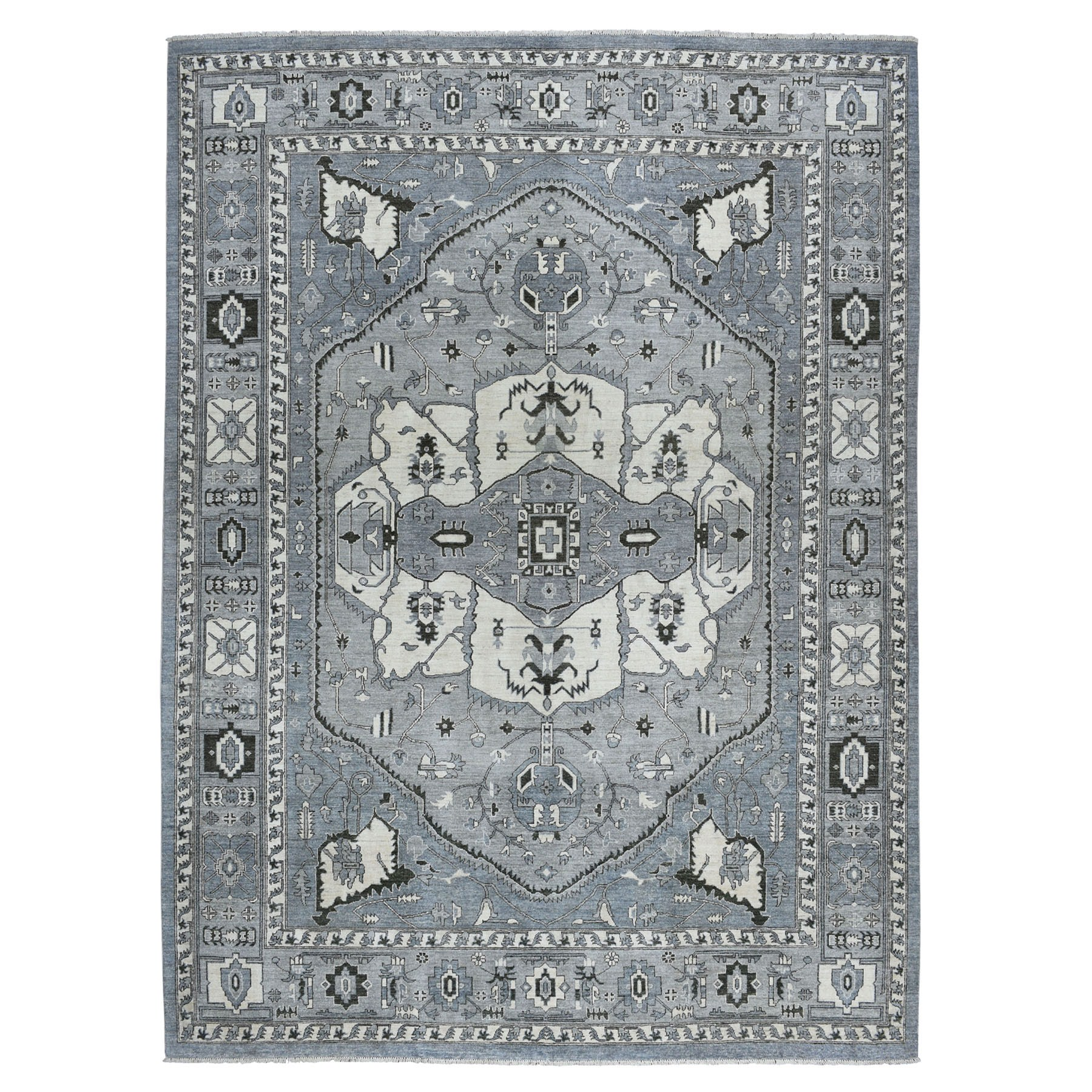 """9'x11'7"""" Gray Peshawar With Heriz Design Pure Wool Hand-Knotted Oriental Rug"""