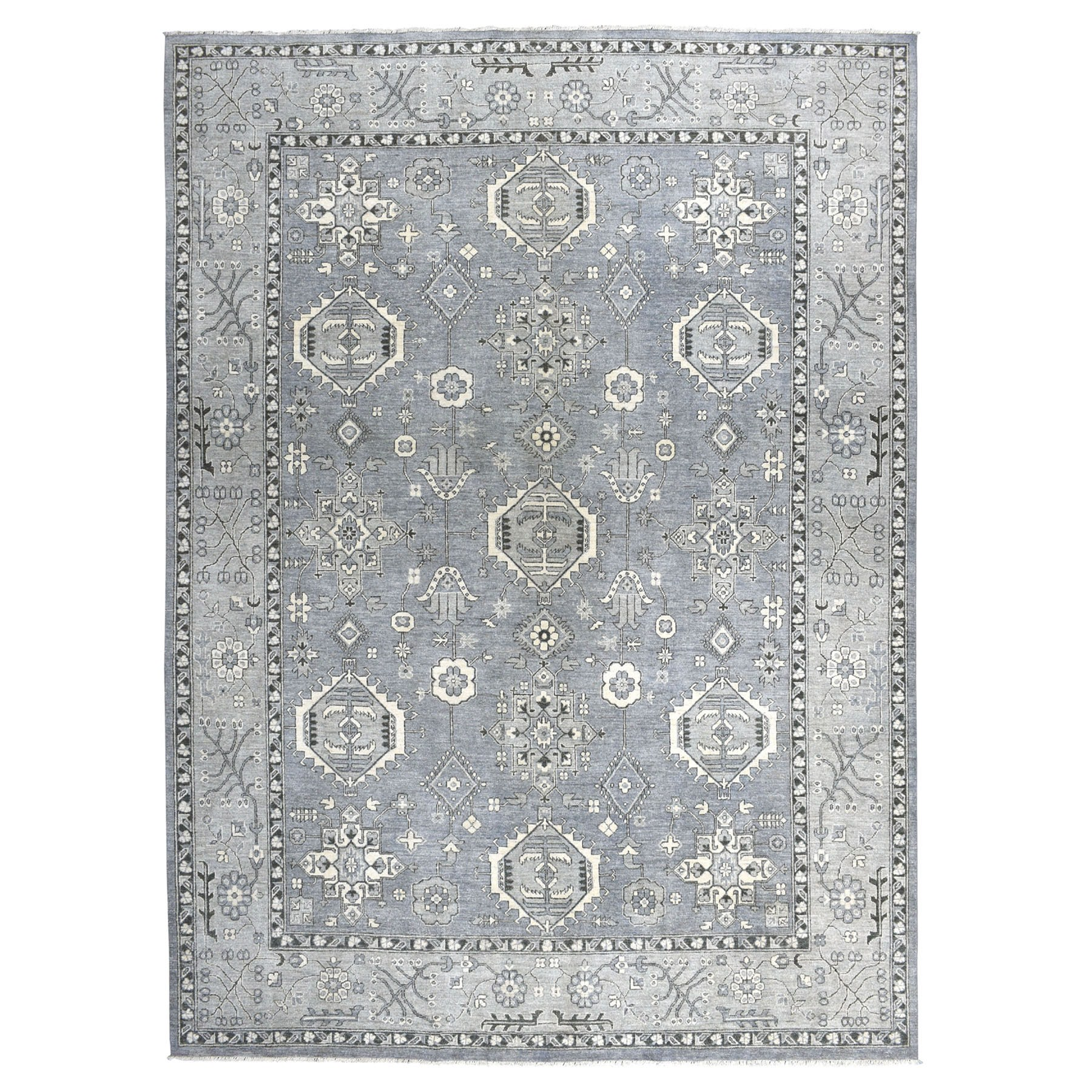 """9'X11'8"""" Gray Pure Wool Hand-Knotted Peshawar With Karajeh Design Oriental Rug moaeaae7"""
